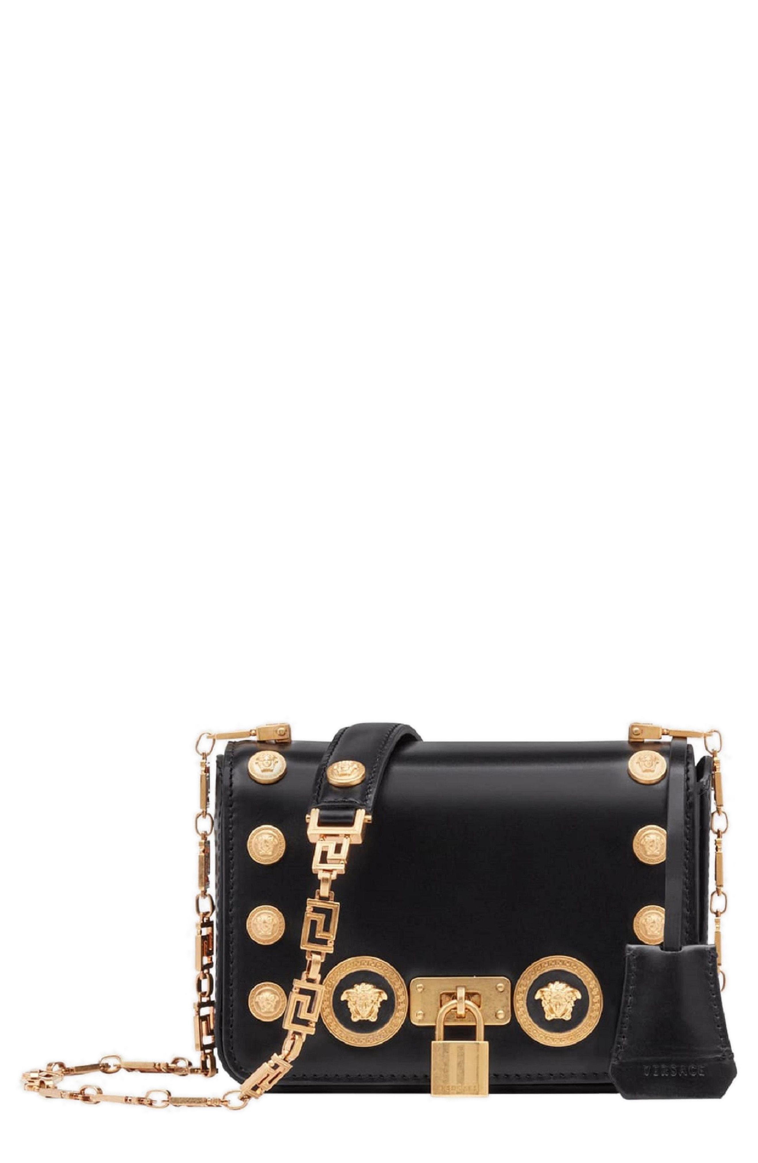 2f6ca9bae8f2 Lyst - Versace Icon Studded Leather Crossbody Bag in Black