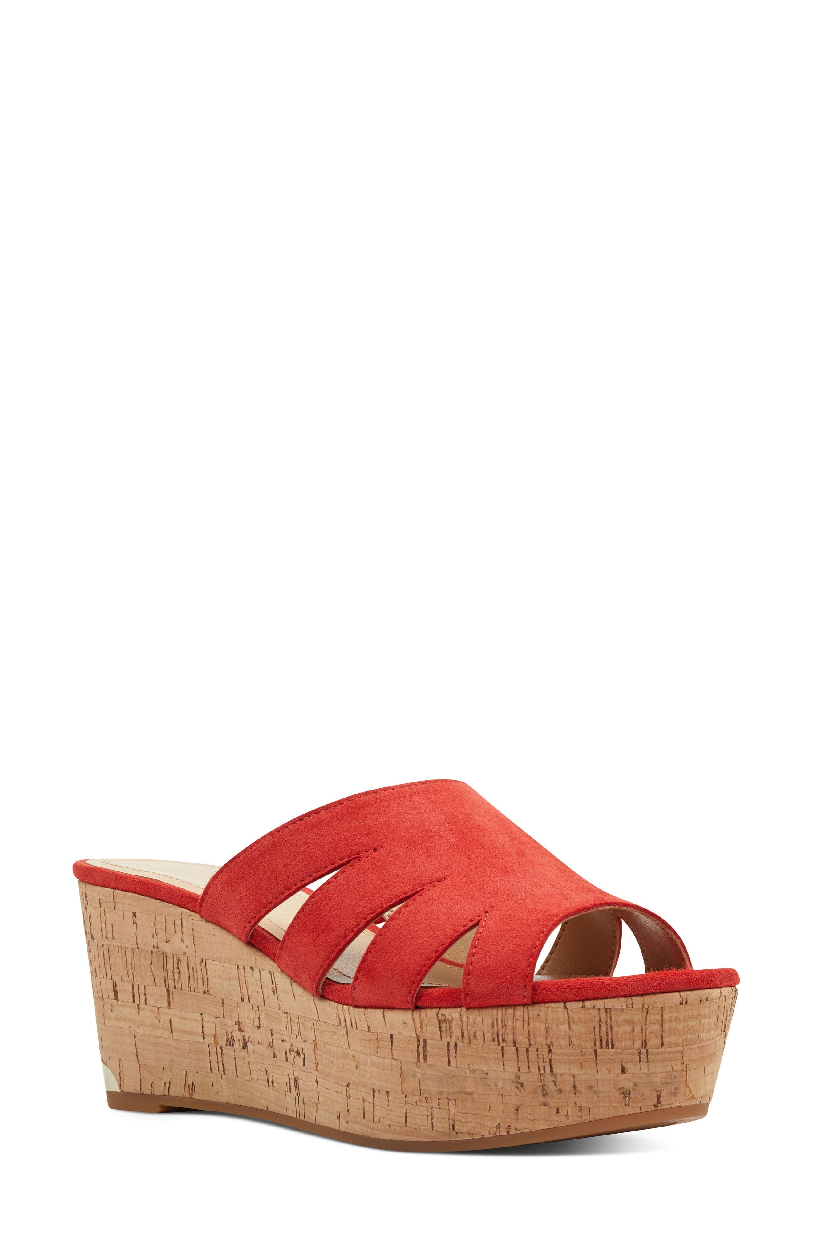 c94c95b84 Lyst - Nine West Victoria Cutout Wedge Slide Sandal in Red