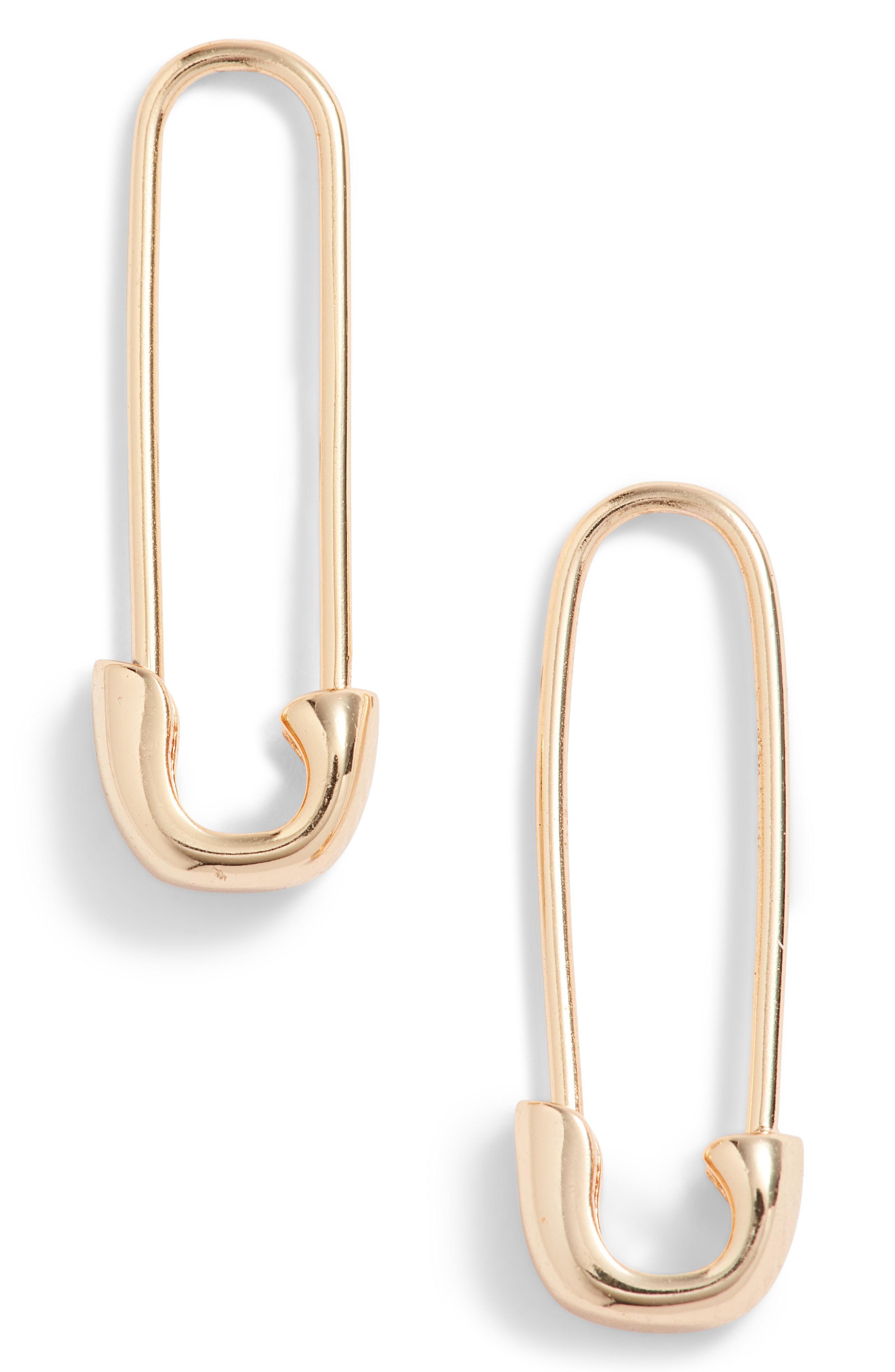 750c19729 Kris Nations Safety Pin Hoop Earrings in Metallic - Lyst