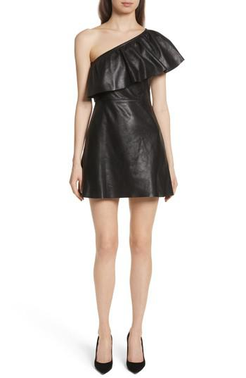 Lyst Alc Kahlo Ruffle One Shoulder Leather Dress In Black