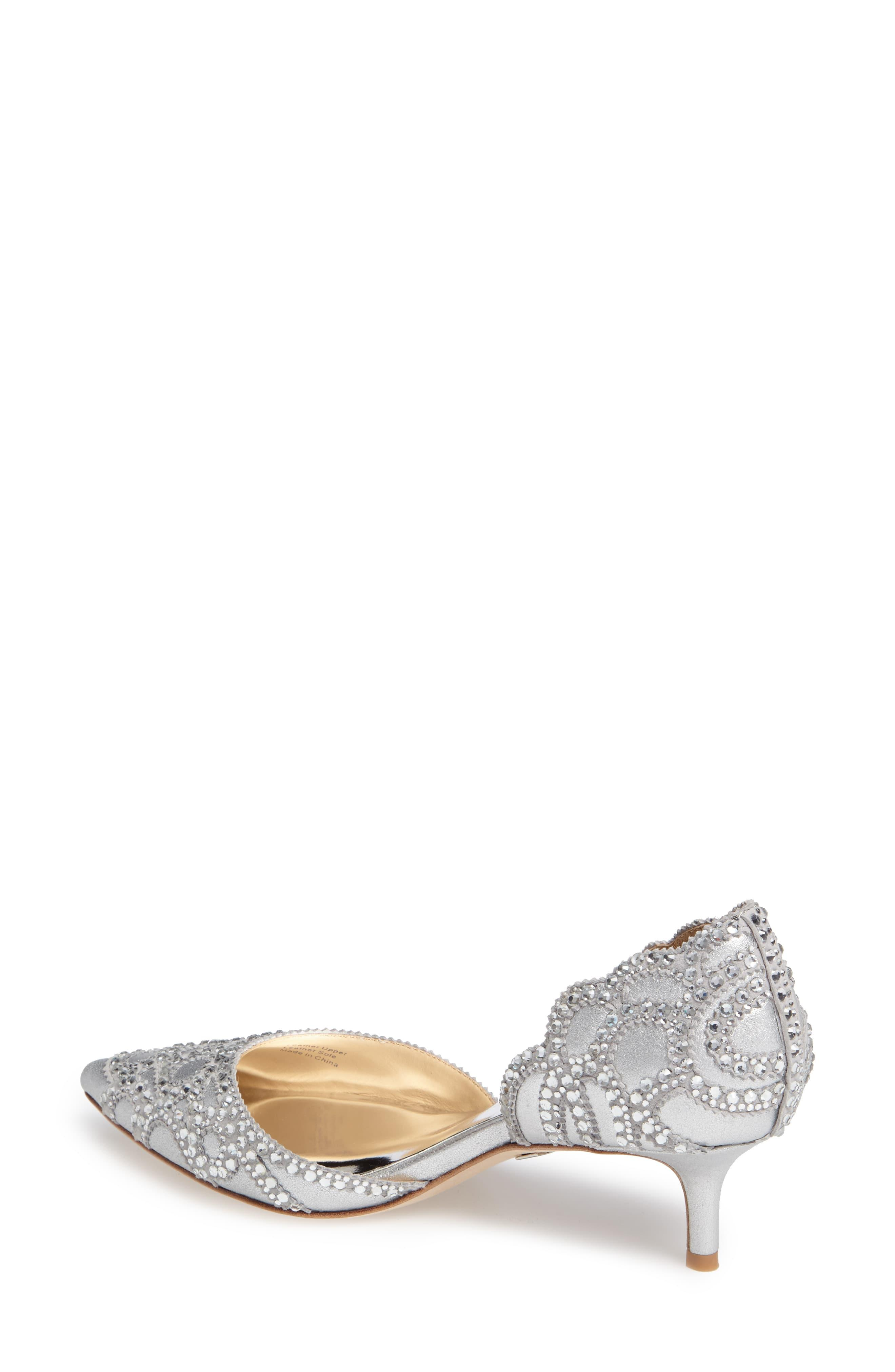 a1d6401f75 Badgley Mischka - Metallic Ginny Satin And Suede Jeweled D'orsay Pumps -  Lyst. View fullscreen