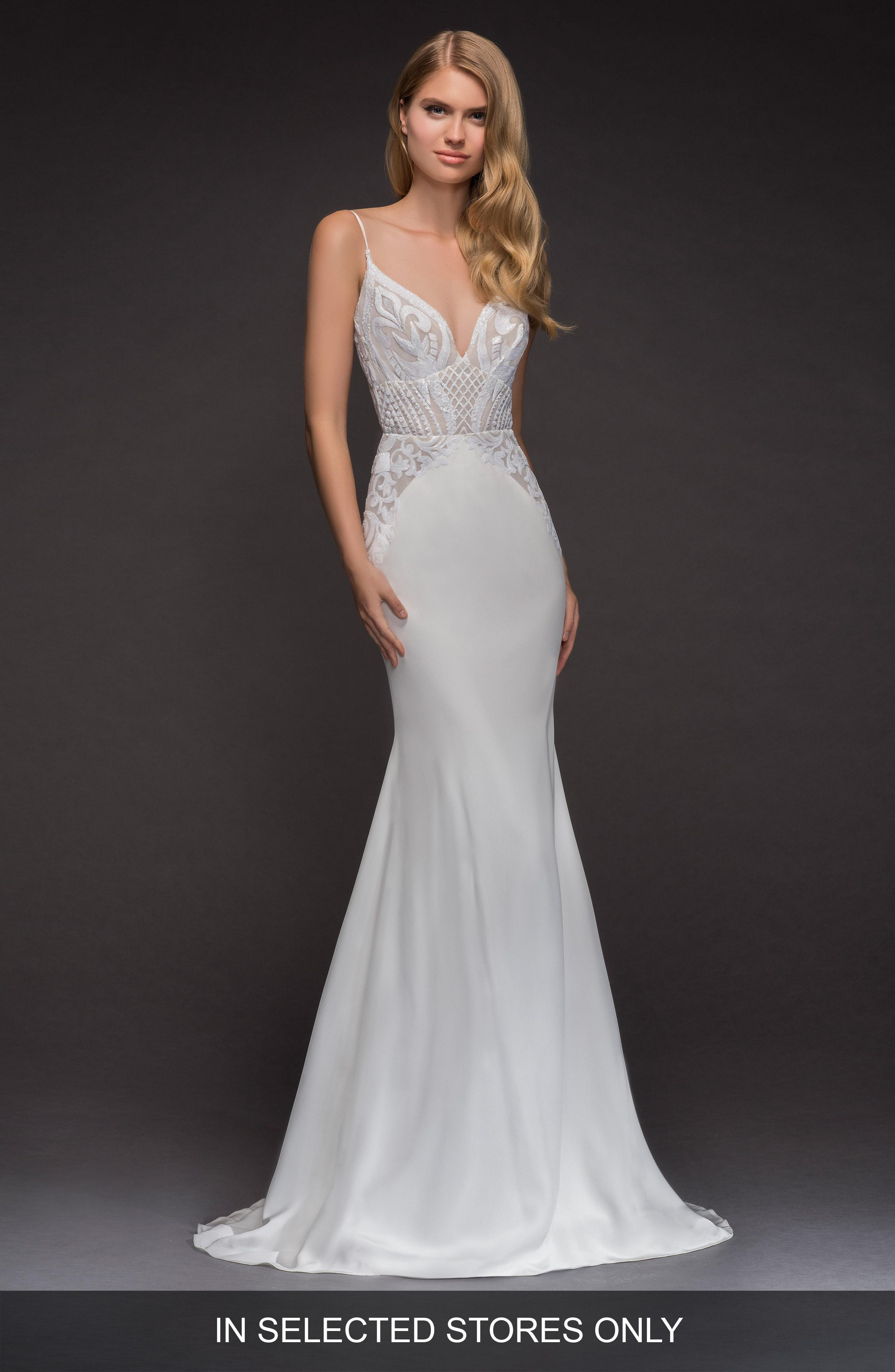 Lyst Blush By Hayley Paige Xenia Beaded Crepe Mermaid Gown In White