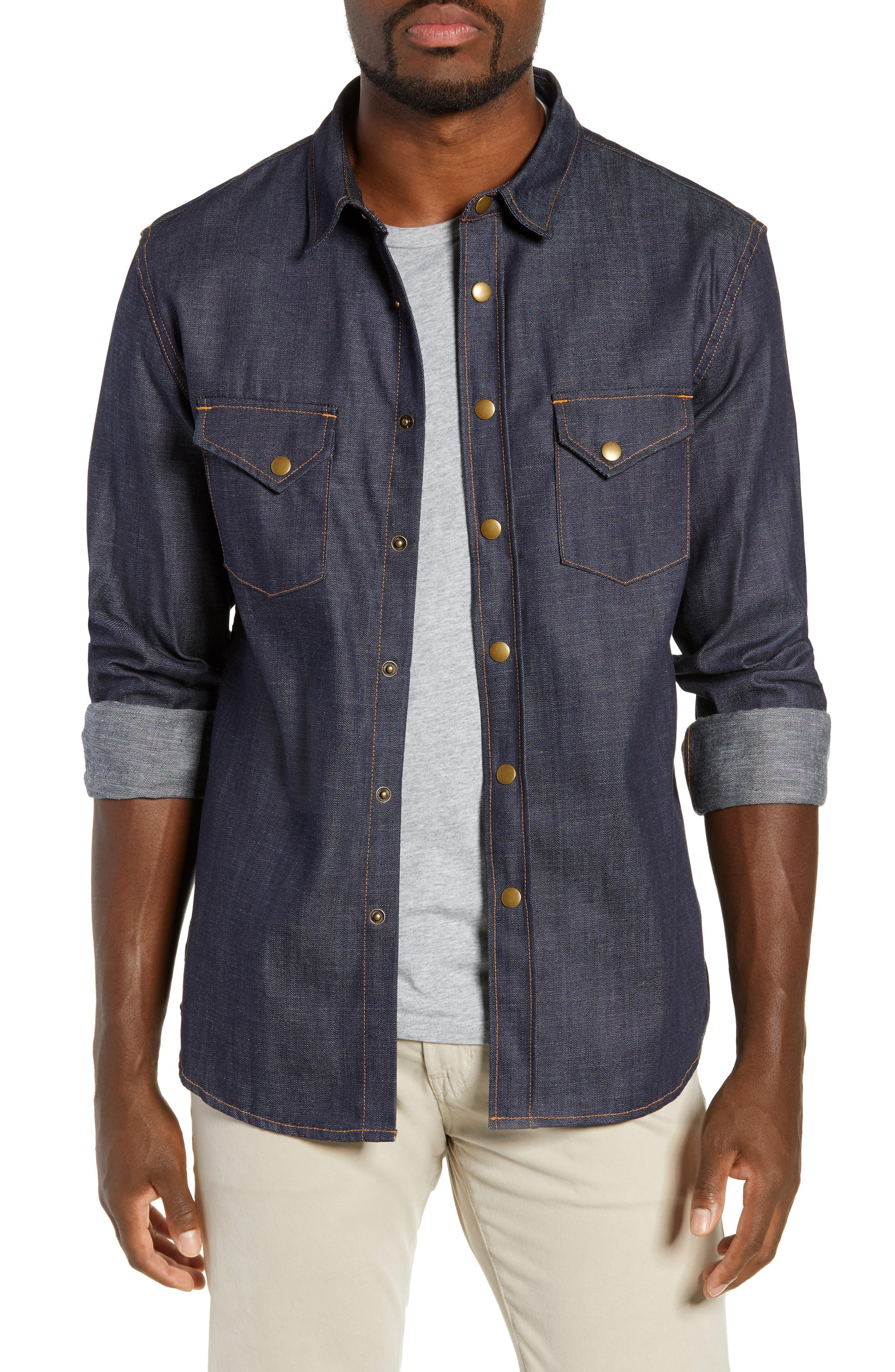 0ef156586e Lyst - Billy Reid Distressed Denim Western Shirt in Blue for Men