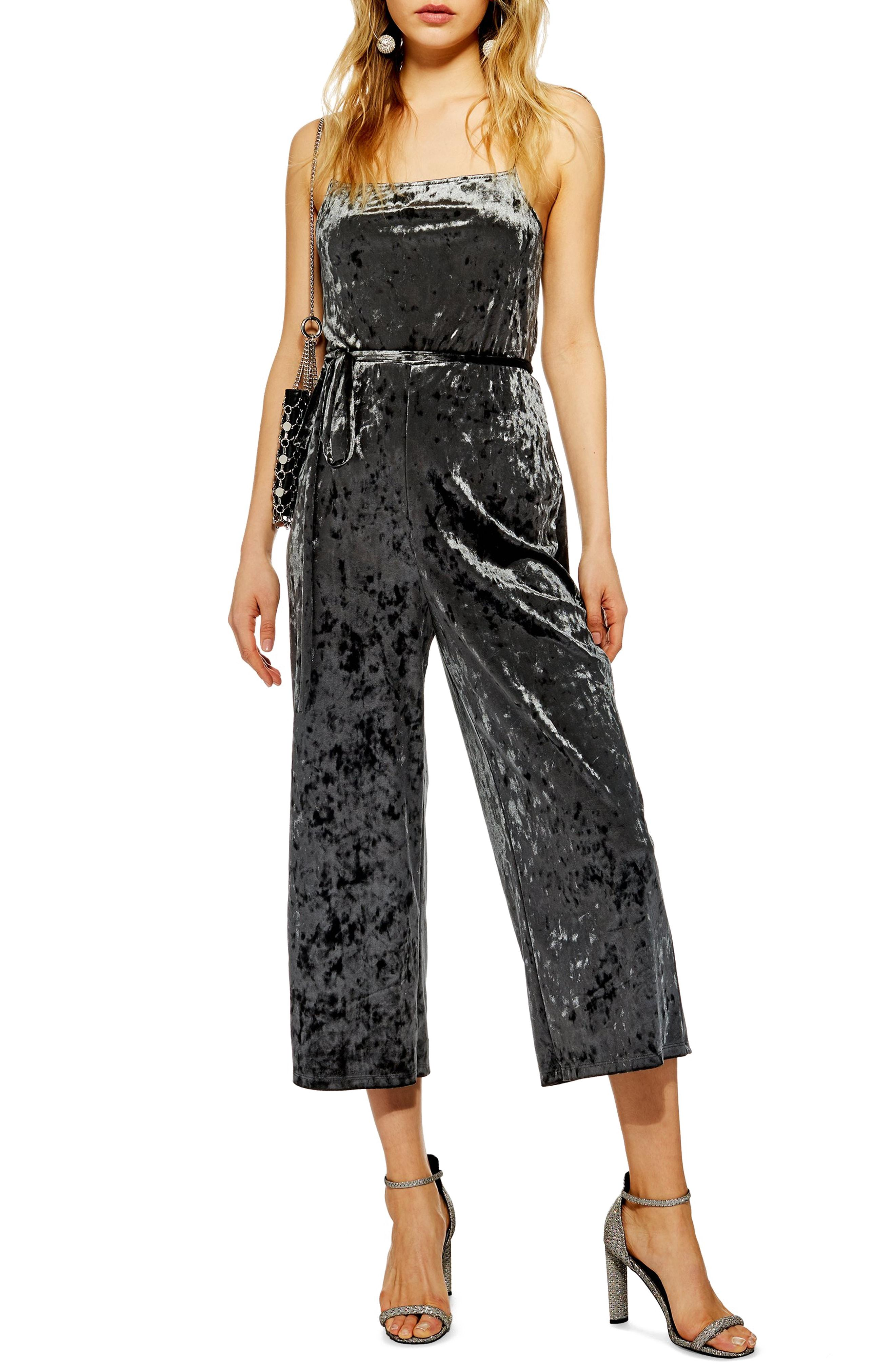 f0e5b356dcee Lyst - Topshop Cropped Velvet Jumpsuit in Gray