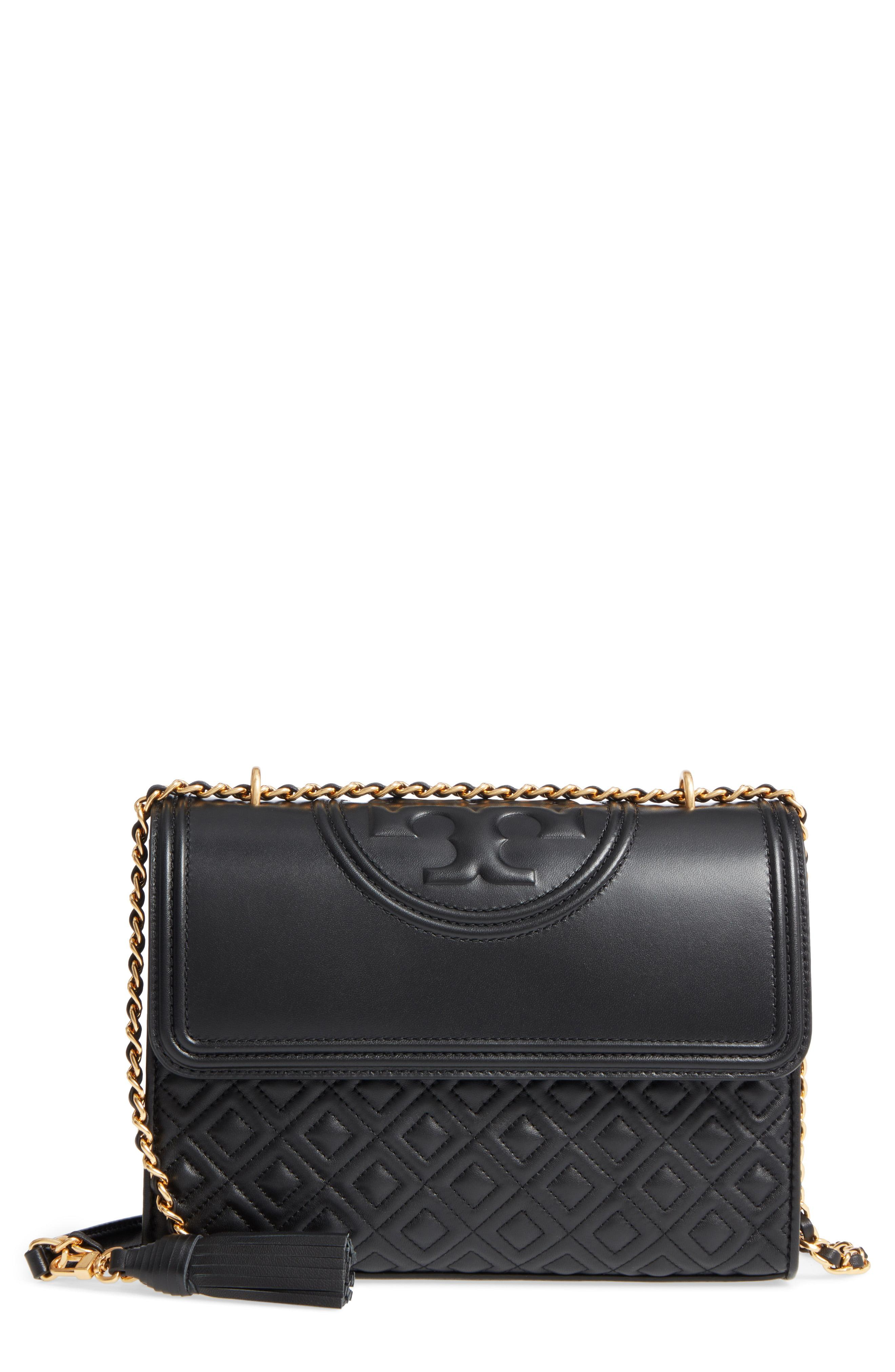 dfcf759bee1 Lyst - Tory Burch Fleming Leather Convertible Shoulder Bag in Black