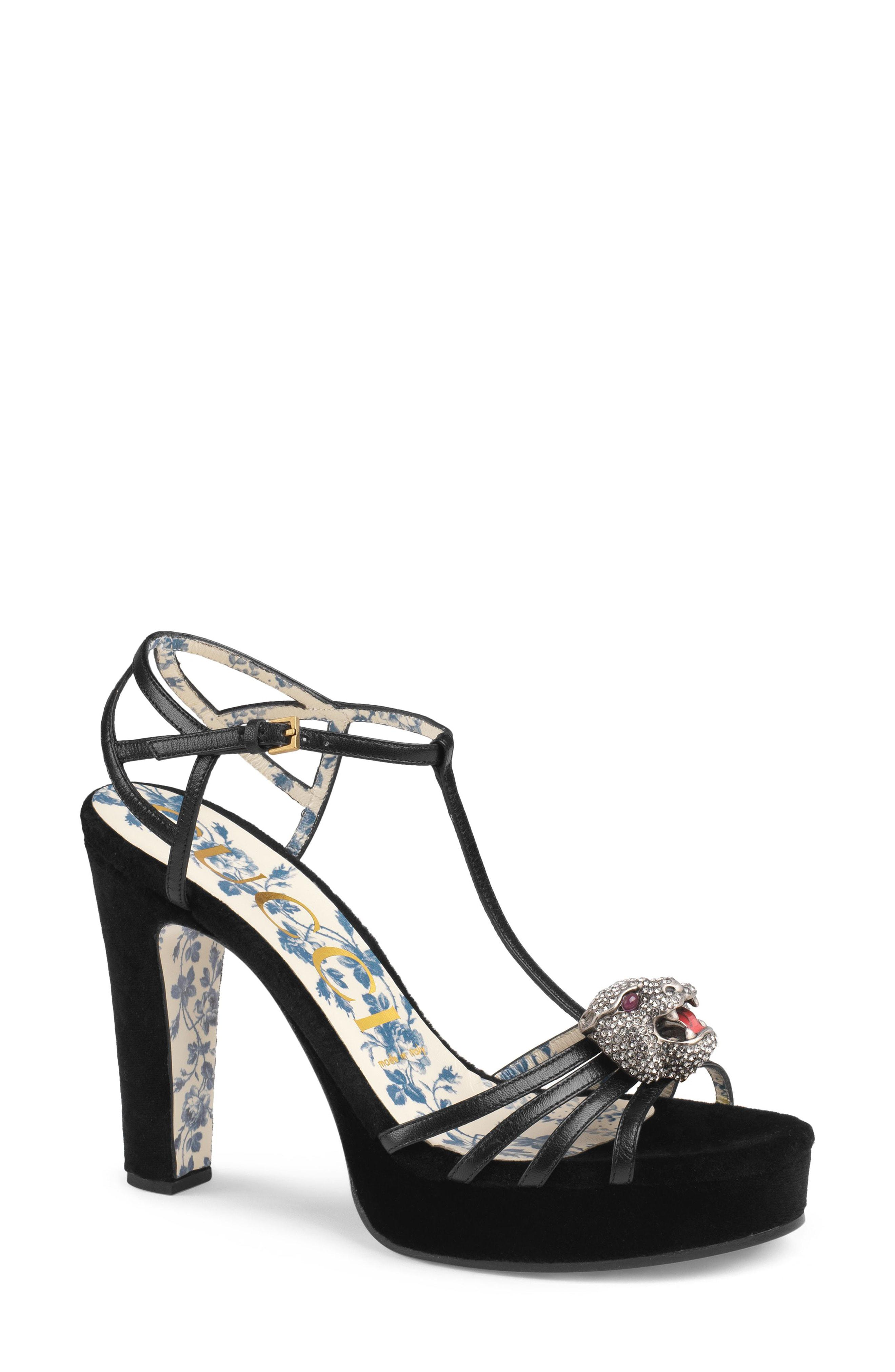 ee4ce37e3c6b3 Lyst - Gucci Crystal Tiger T-strap Sandal in Black