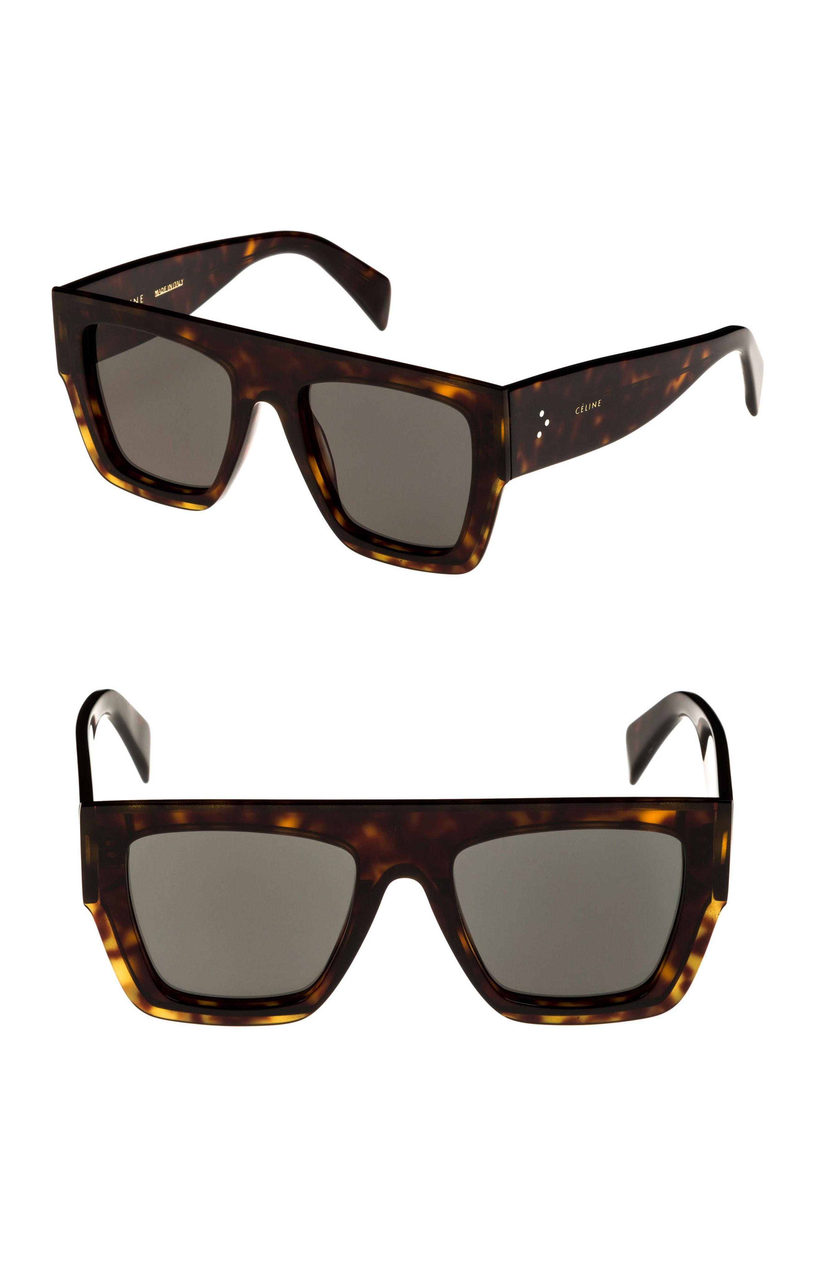 c21d34f7af9 Lyst - Céline 51mm Rectangular Sunglasses - Dark Havana  Green in Green