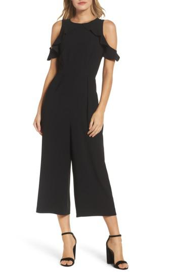 5c07478a1df Lyst - Maggy London Cold Shoulder Jumpsuit in Black
