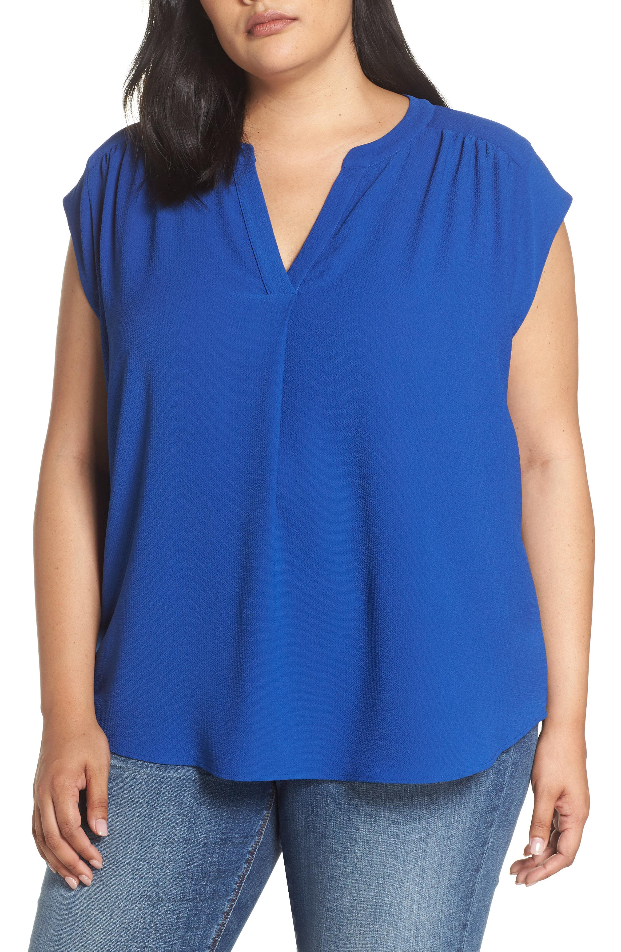 8947224c297 Lyst - Gibson Split Neck Top in Blue - Save 38%