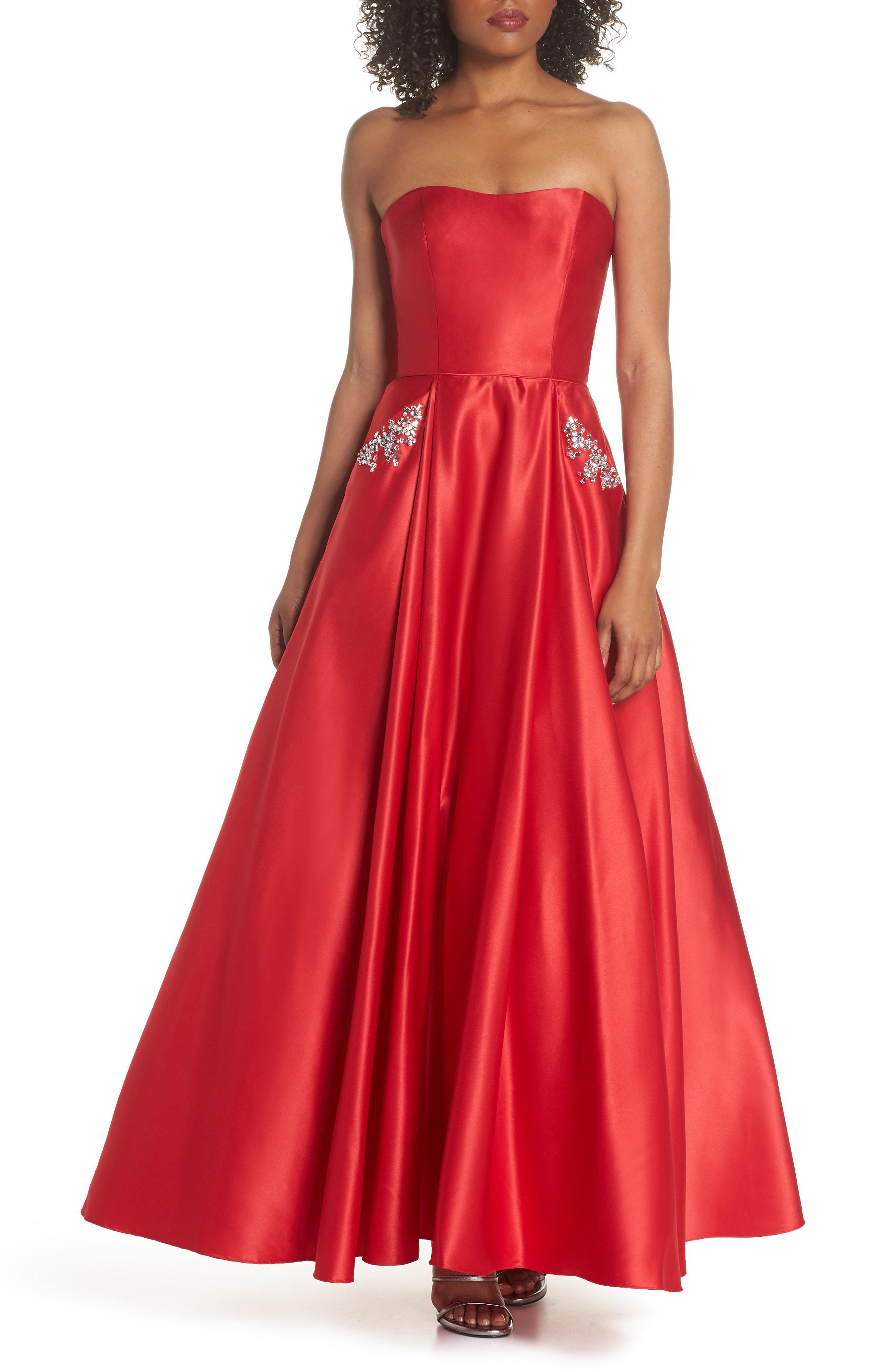 2508ac60ec3 Lyst - Blondie Nites Embellished Strapless Ballgown in Red