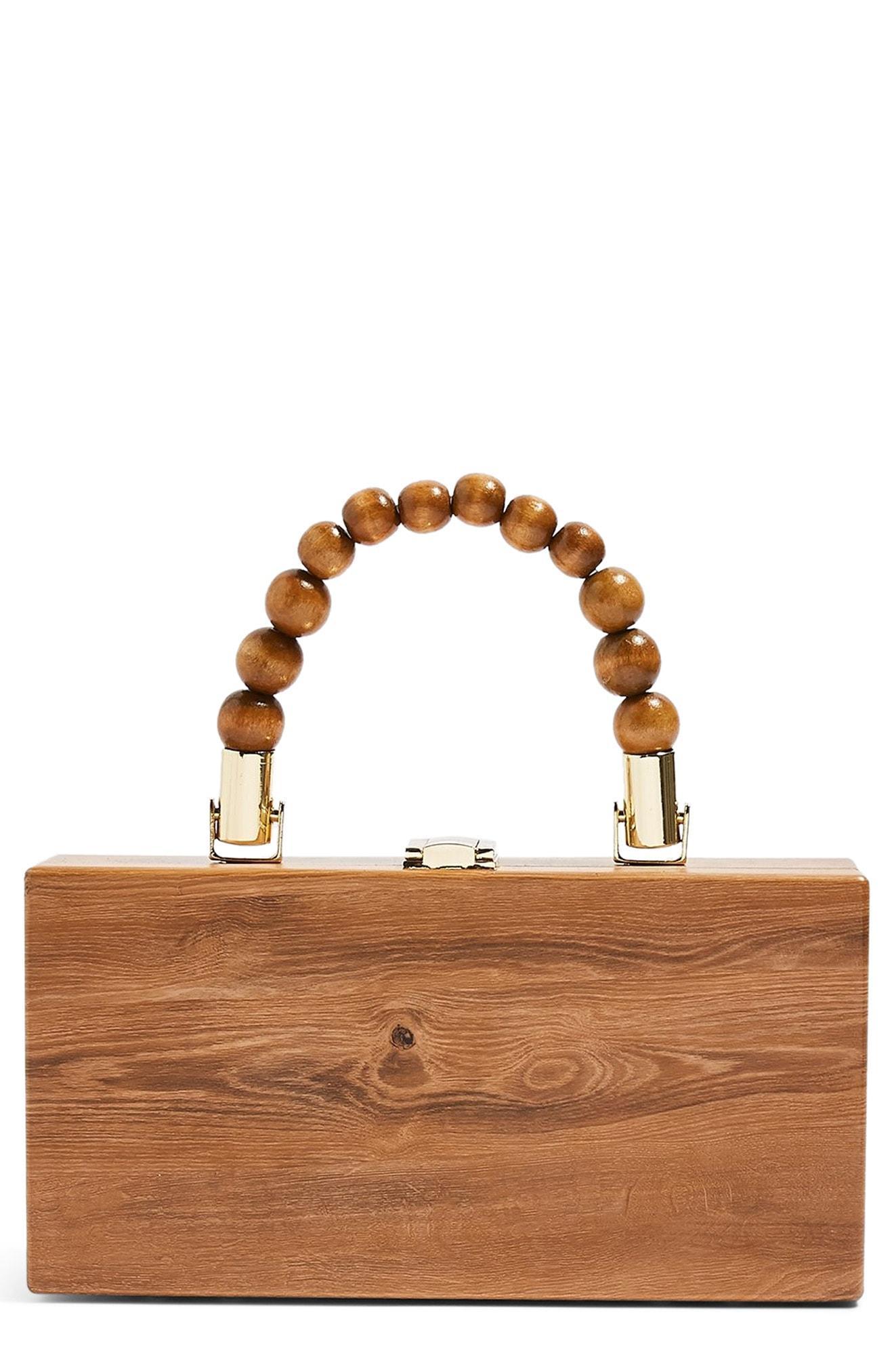 dcb139b94 Lyst - TOPSHOP Gina Ball Box Grab Bag in Brown