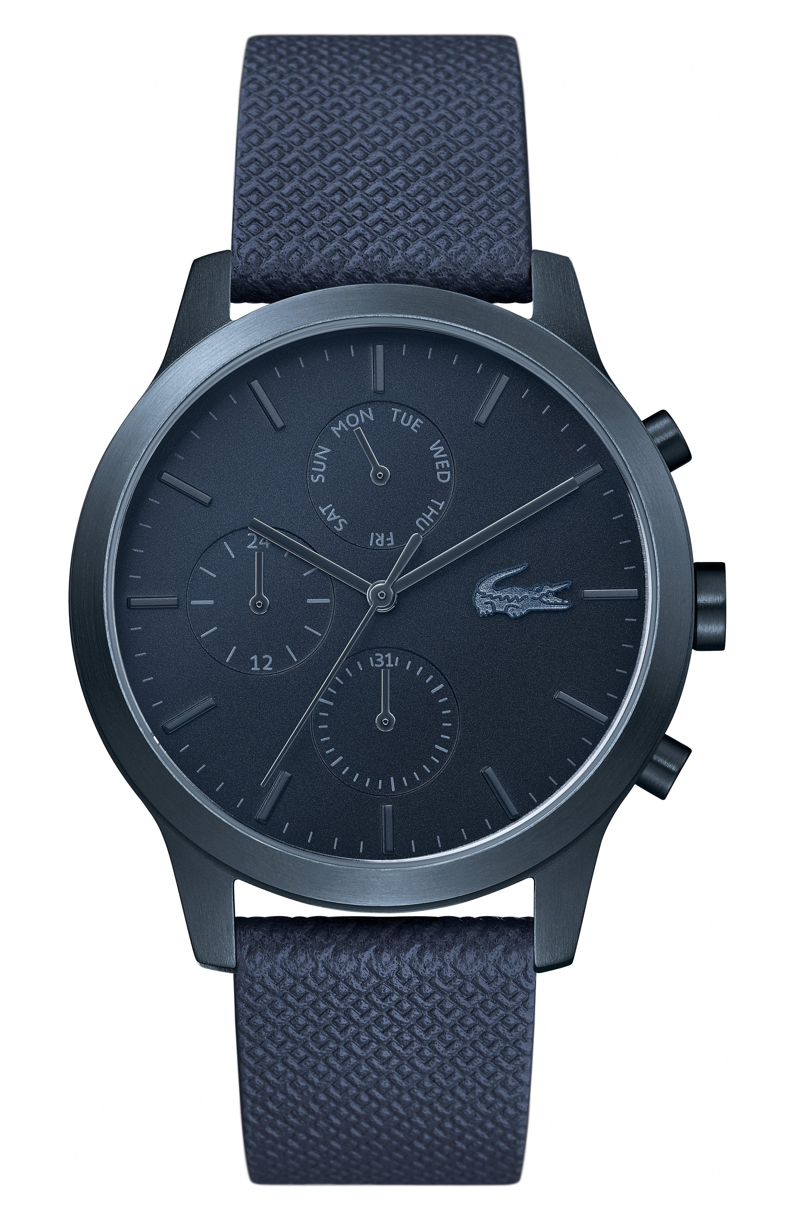 Lacoste. Men's Blue 12.12 Premium Chronograph Leather Strap Watch