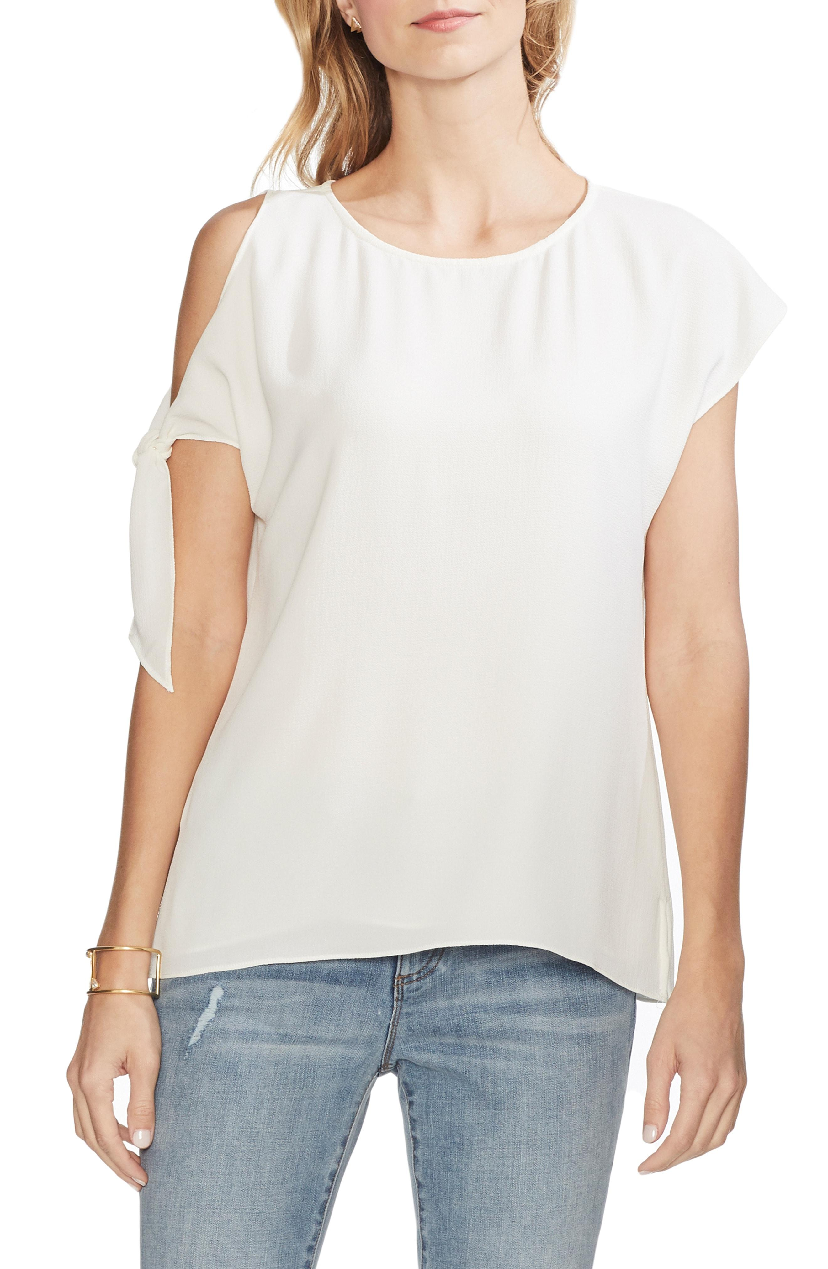 938c0d0f53df57 Lyst - Vince Camuto Single Cold Shoulder Tie Sleeve Top in White