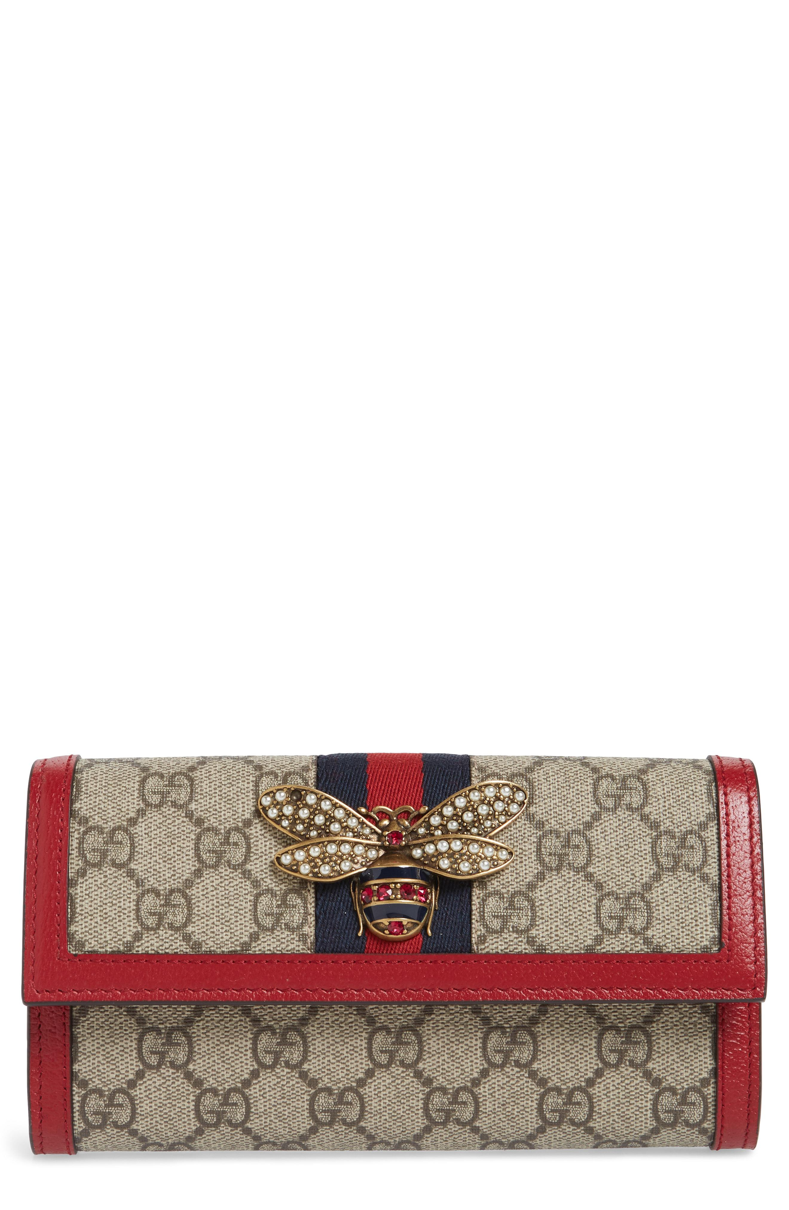 98897d23b1f392 Lyst - Gucci Queen Margaret Gg Supreme Canvas Flap Wallet in Natural