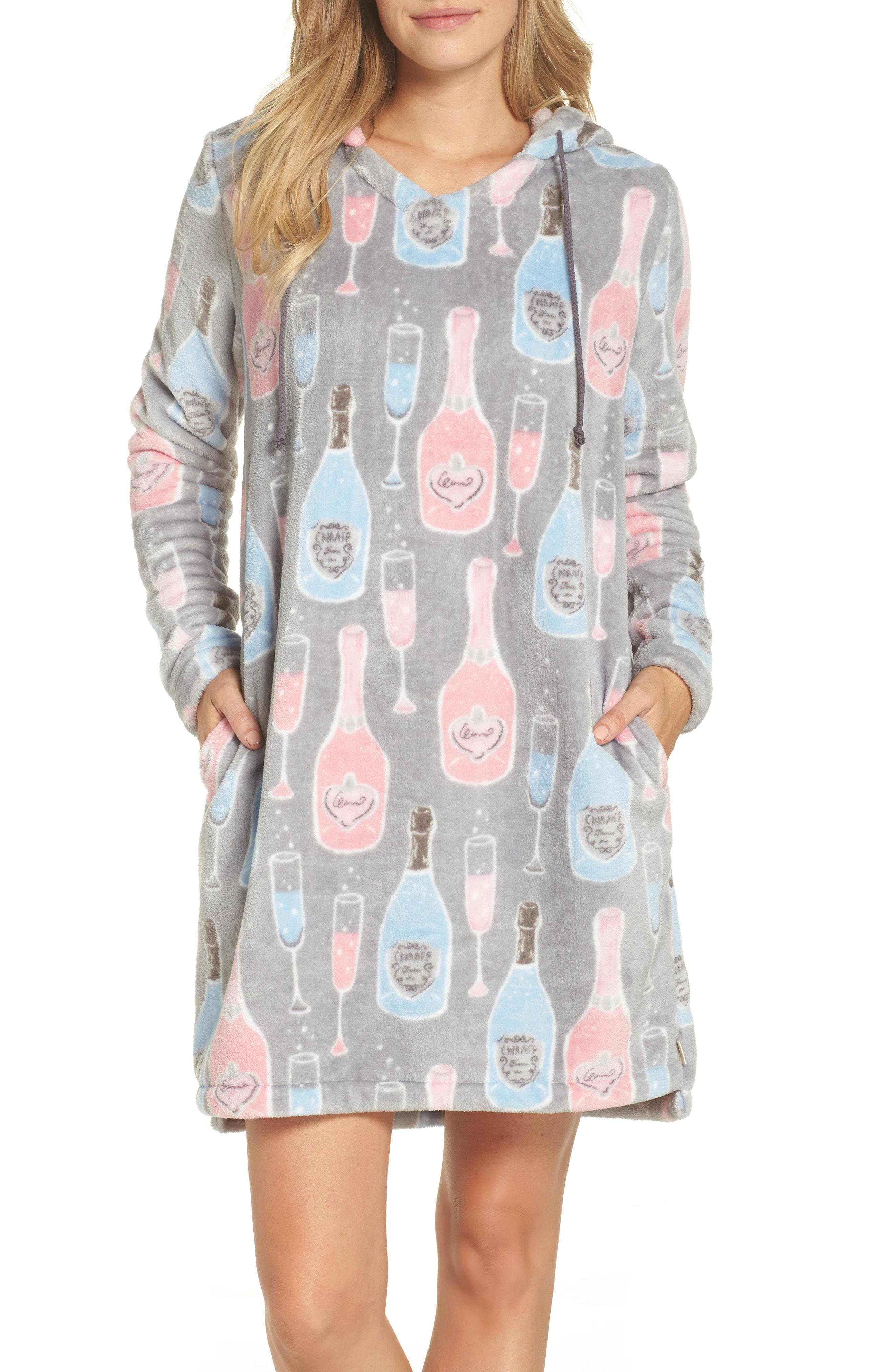 149280d3bfe Lyst - Munki Munki Plush Hooded Nightgown in Gray