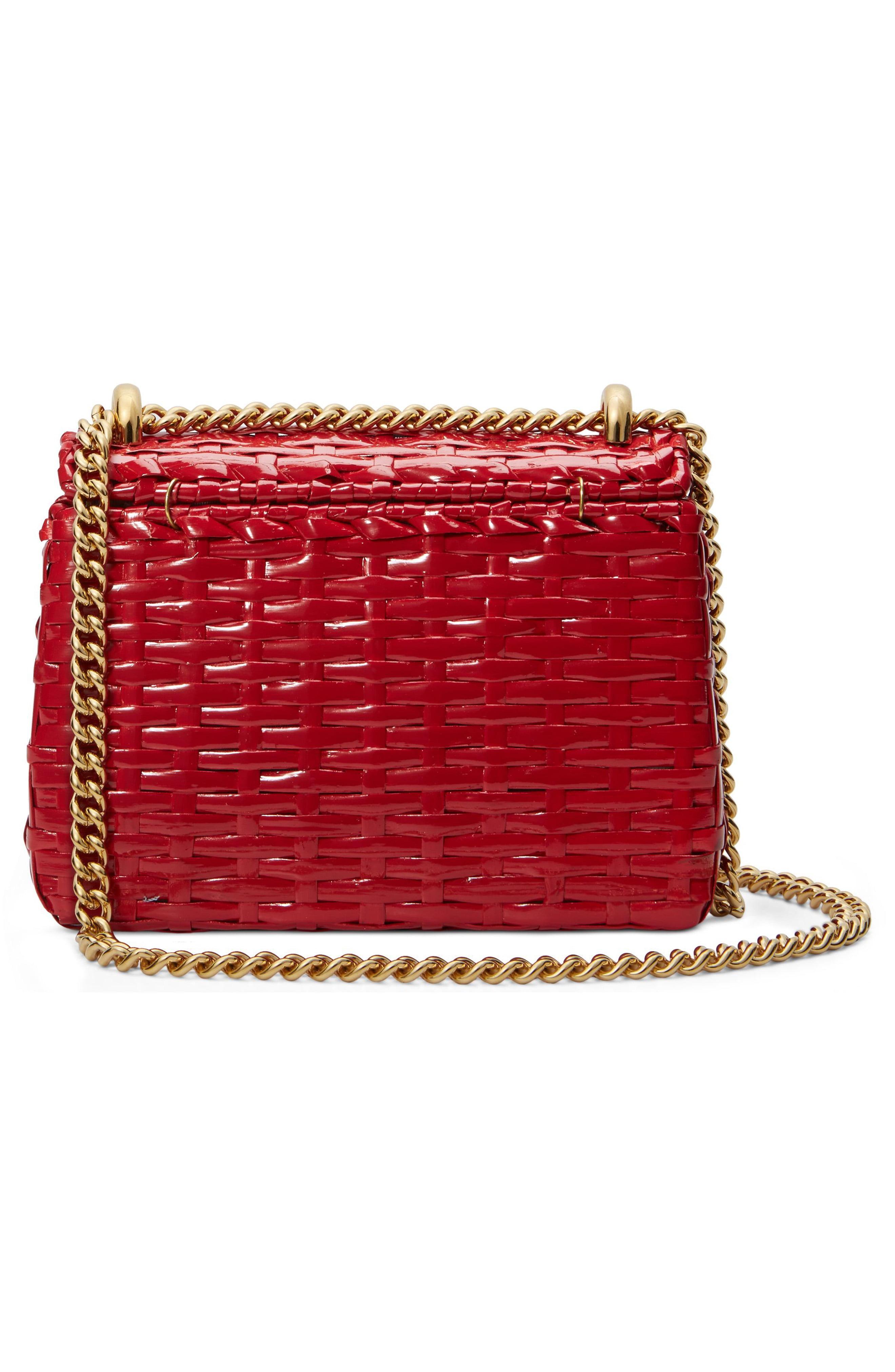 b8d72861eeb Gucci - Red Small Linea Cestino Glazed Wicker Shoulder Bag - Lyst. View  fullscreen