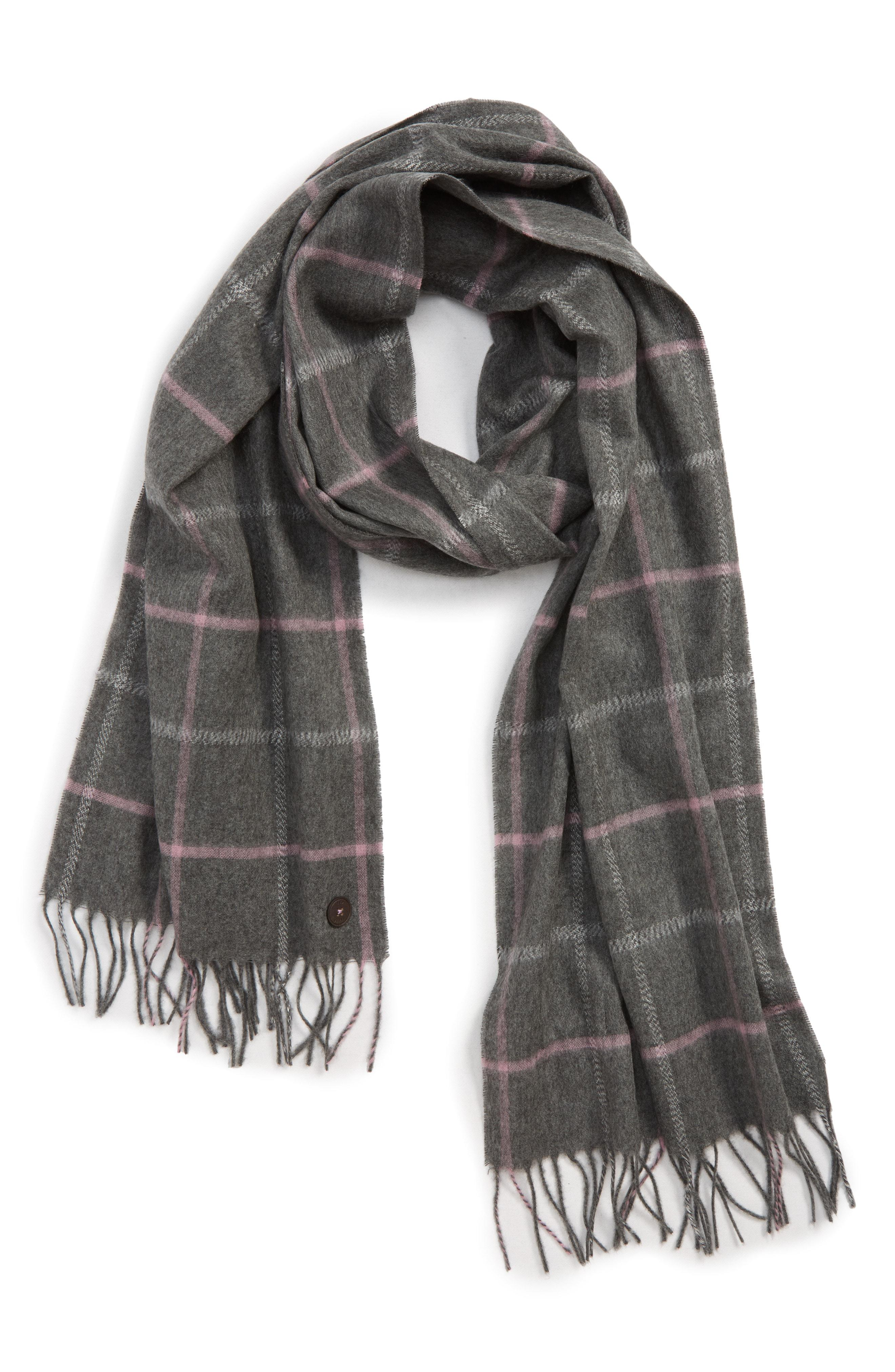 623c543e29f2 Lyst - Ted Baker Window Check Fringed Scarf in Gray for Men