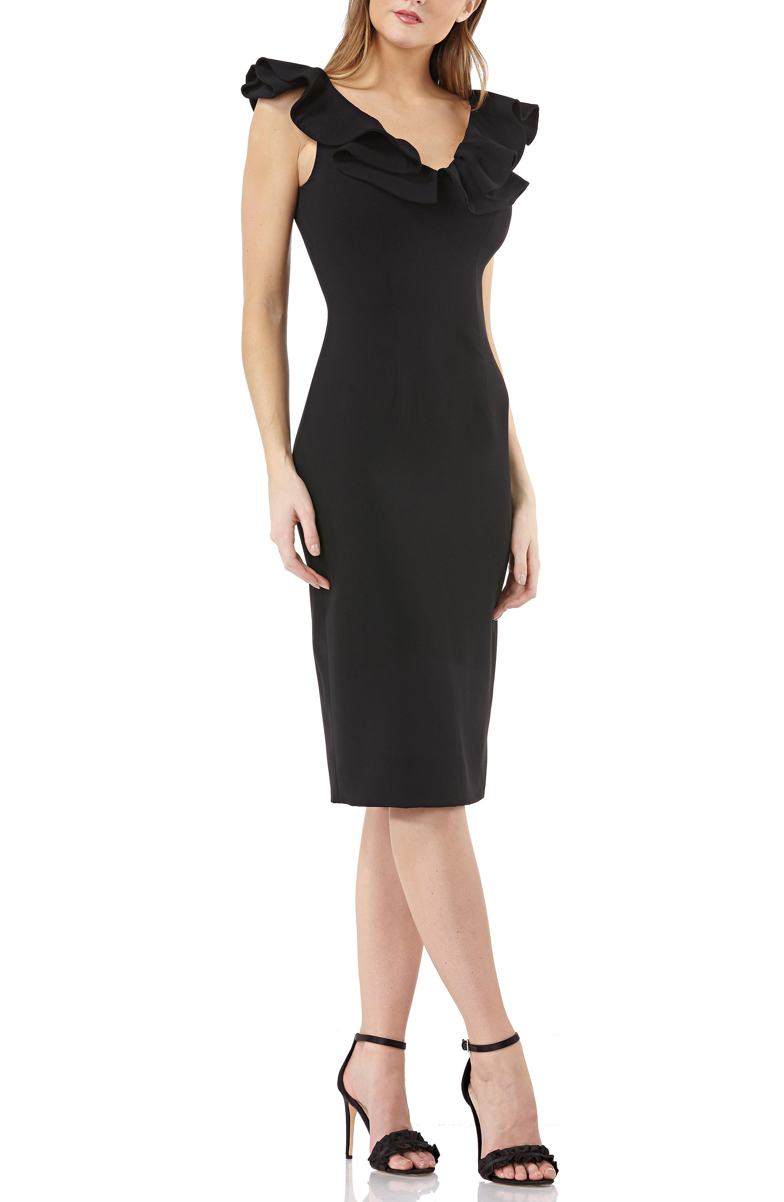 d73678988a Lyst - JS Collections Js Collection Ruffle Cocktail Dress in Black