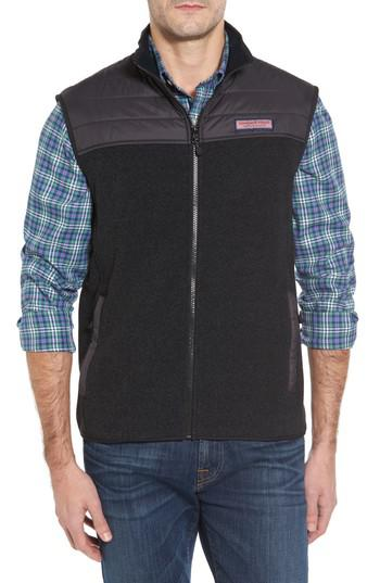 Lyst Vineyard Vines Quilted Yoke Fleece Vest In Black