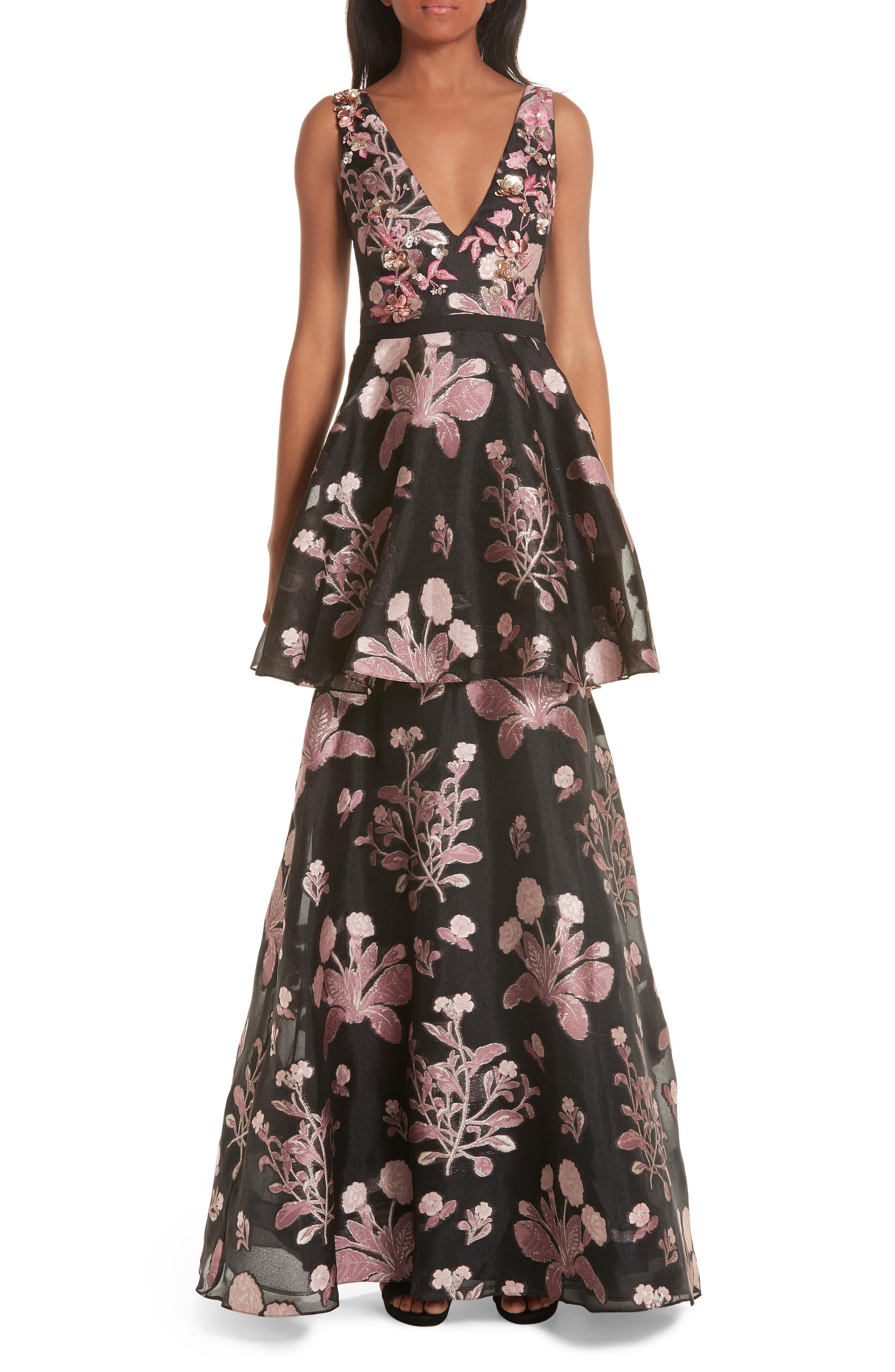 1fe756e257 Marchesa notte. Women's Embellished Jacquard Evening Dress