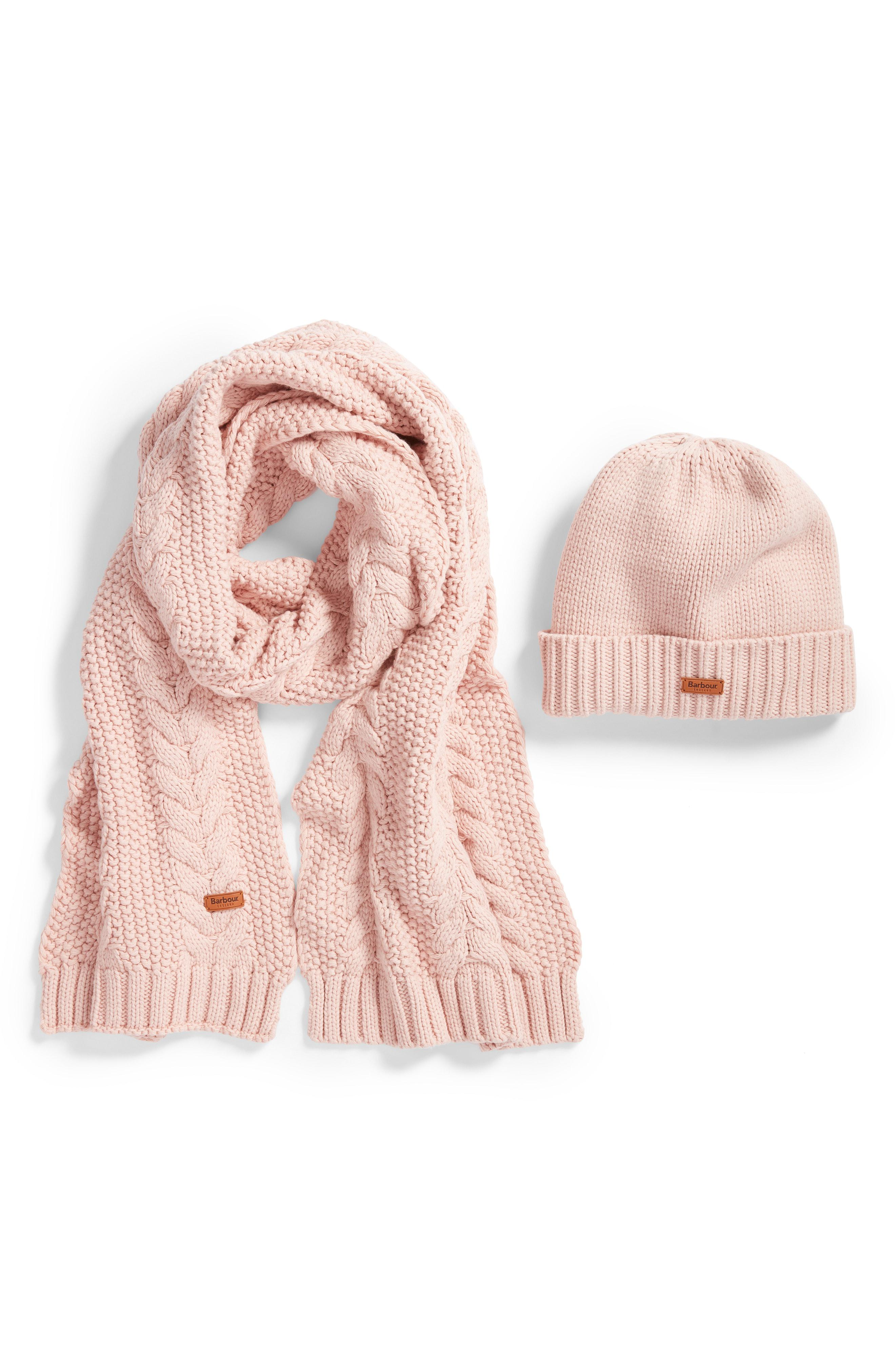 172f47a4237 Barbour - Pink Cable Knit Hat   Scarf Set - - Lyst. View fullscreen