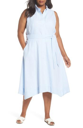 a1316f7ada4e Tahari - Blue Sleeveless Stripe Seersucker Shirtdress - Lyst. View  fullscreen