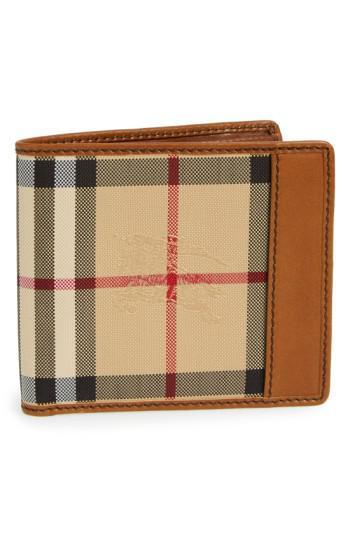 553b198965d Lyst - Burberry Haymarket Check Wallet in Brown for Men