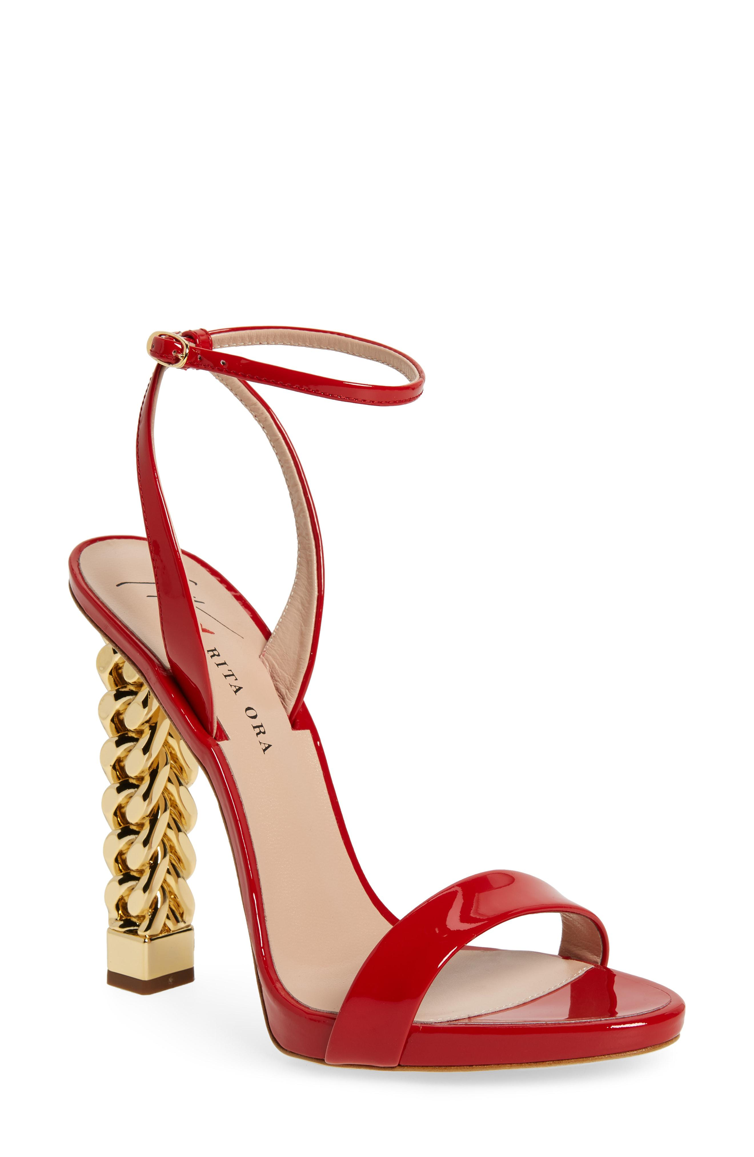 c7836b76e08 Giuseppe Zanotti X Rita Ora Chain Heel Sandal in Red - Lyst
