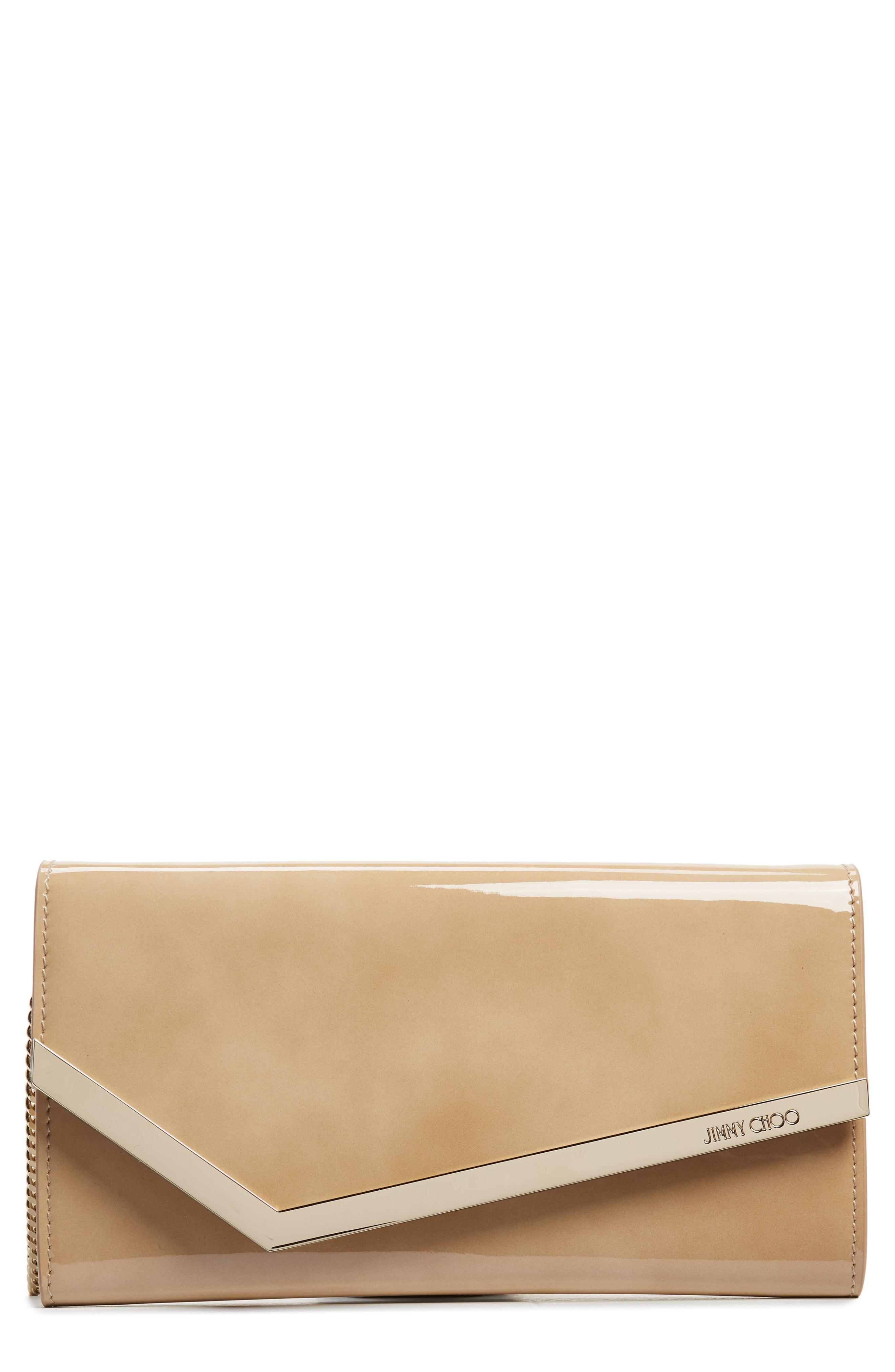 2e280dbb8e Lyst - Jimmy Choo Emmie Nude Patent And Suede Clutch Bag in Natural