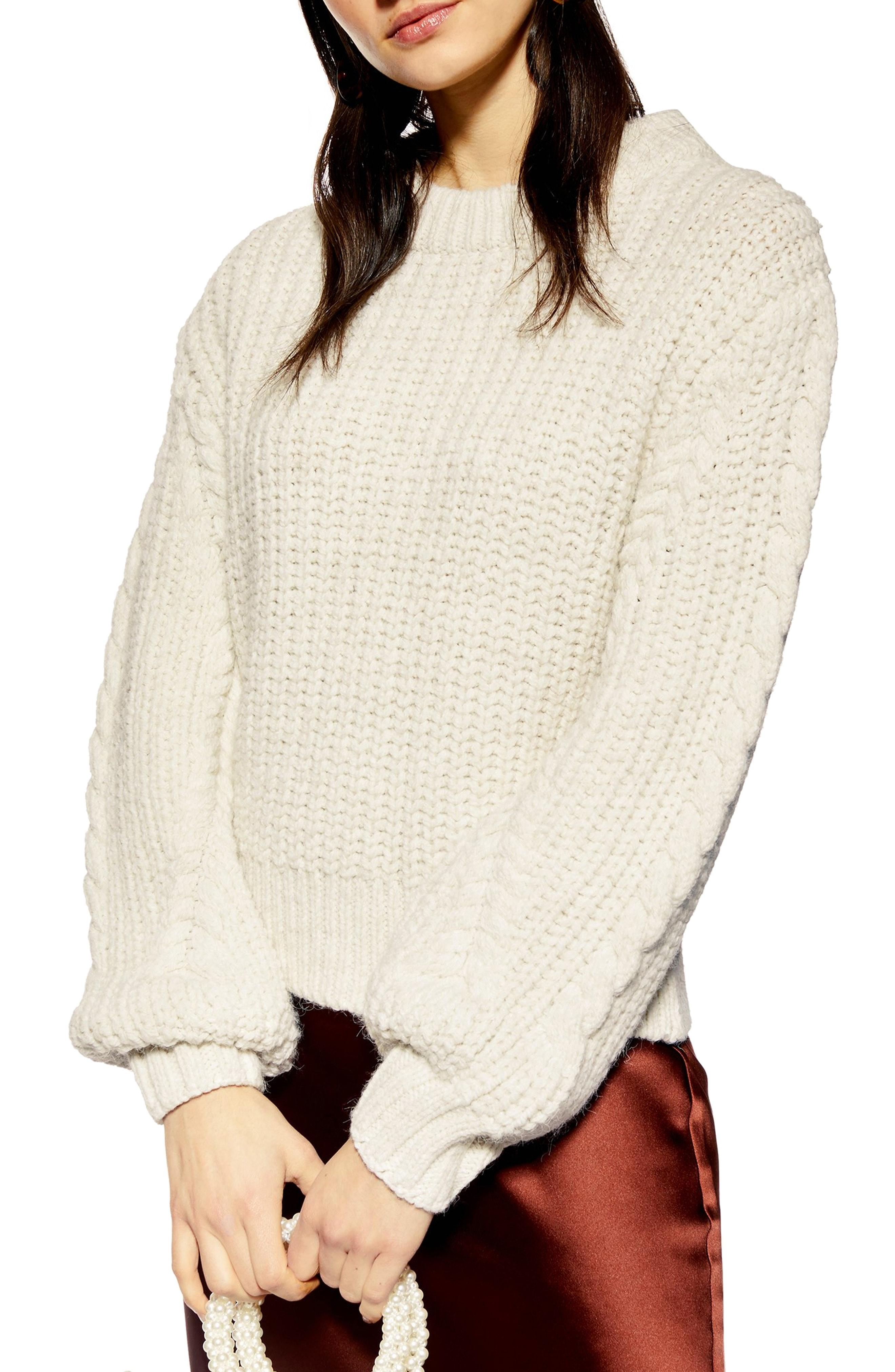 2fce741290 Lyst - Topshop Bishop Sleeve Cable Knit Sweater in Natural