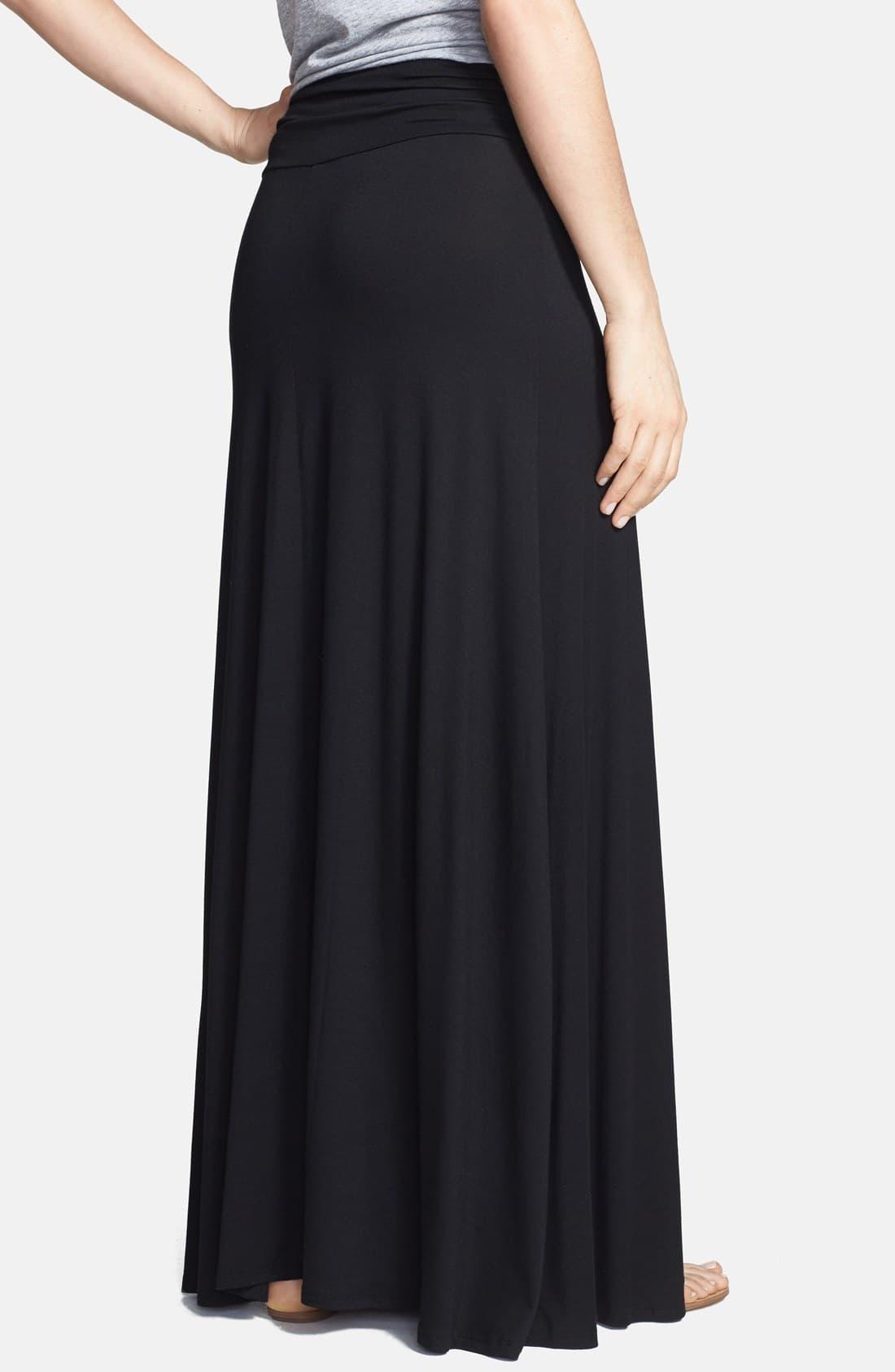69384ca000 Bobeau - Black Ruched Waist Side Slit Maxi Skirt - Lyst. View fullscreen