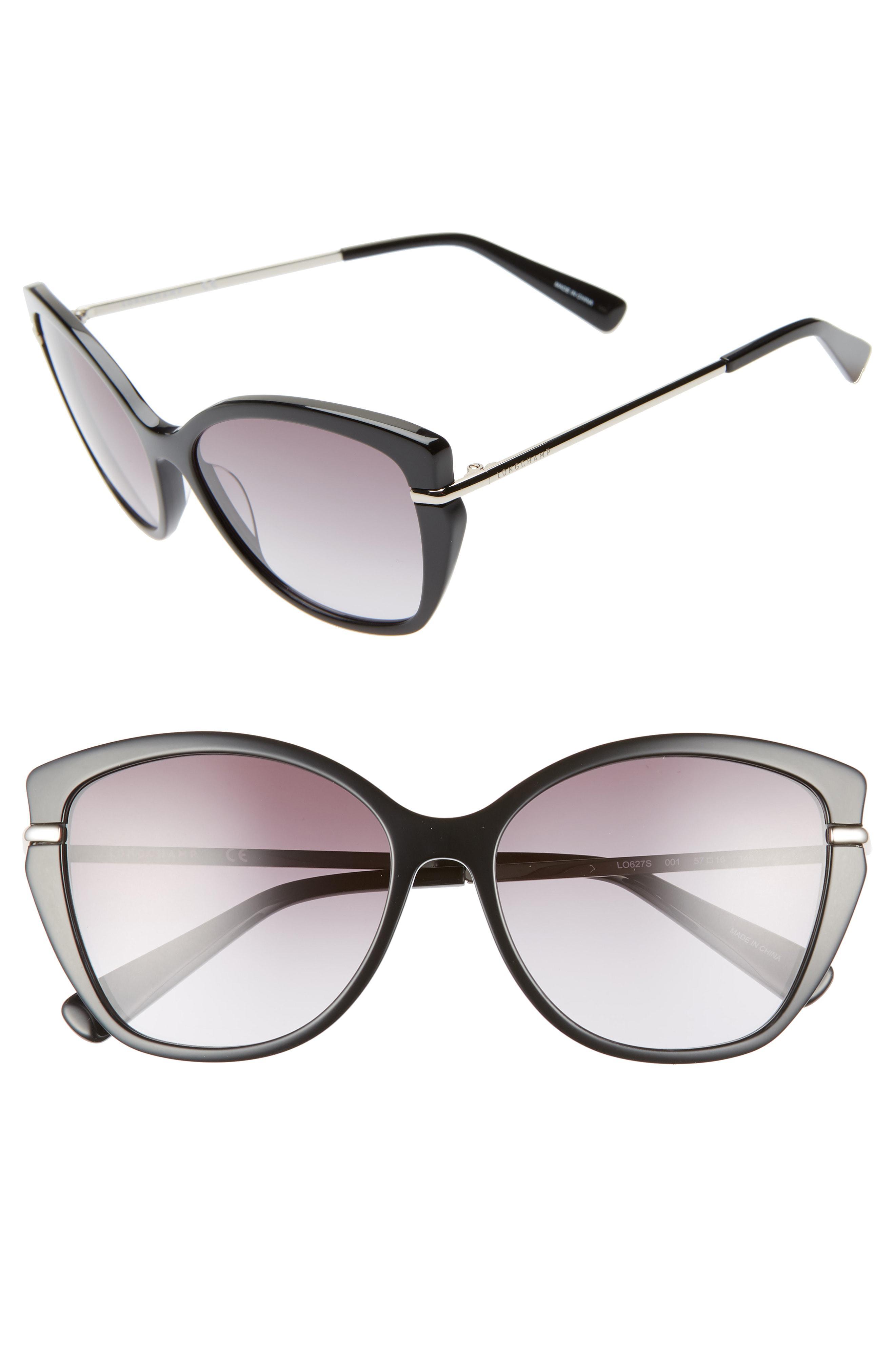 d64552d531 Lyst - Longchamp Heritage 57mm Butterfly Sunglasses in Black