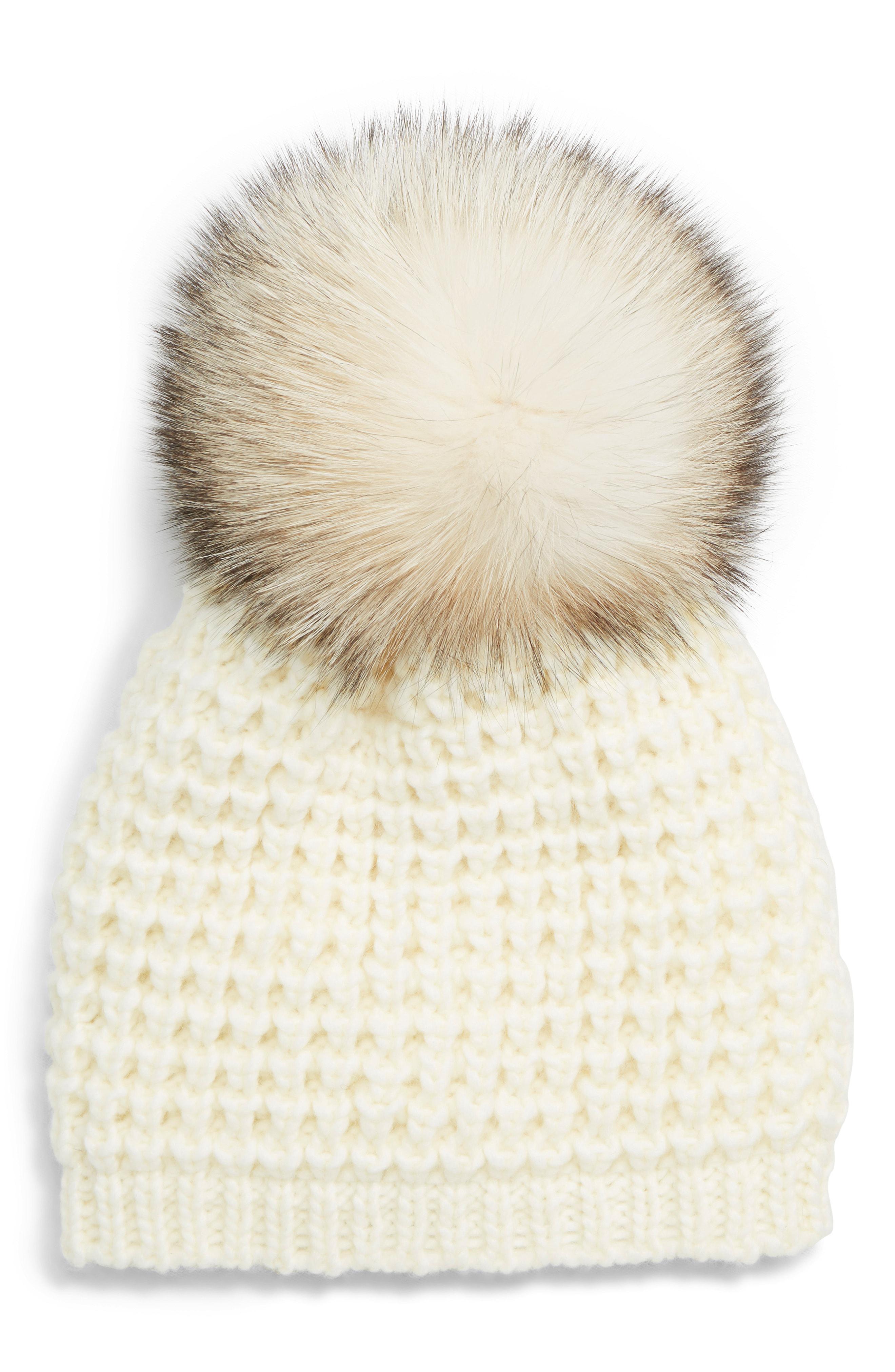94e19b82048 Kyi Kyi. Women s Genuine Fox Pompom Hat