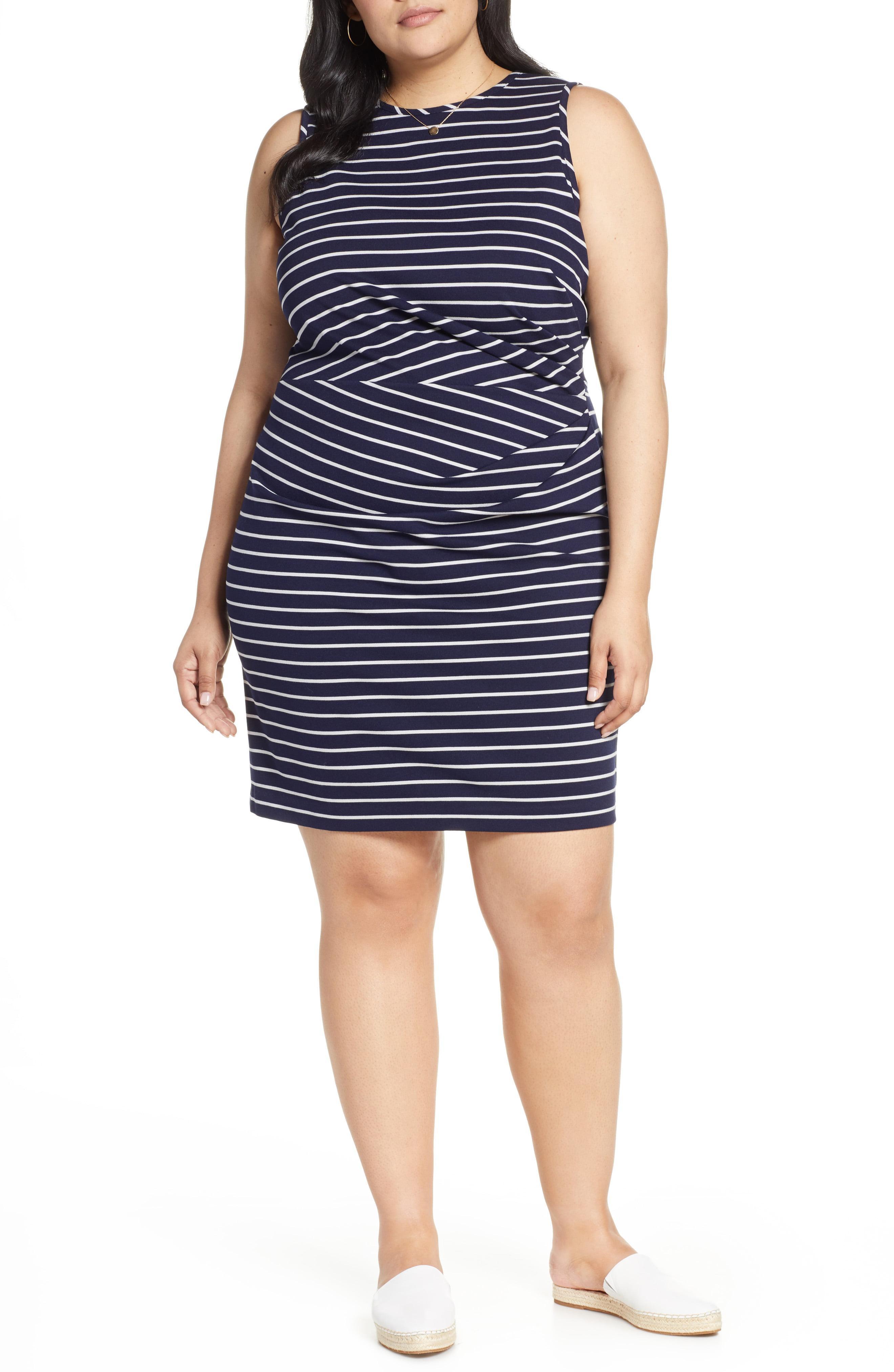 57c35841350 Lyst - Nordstrom 1901 Gathered Stripe Dress in Blue