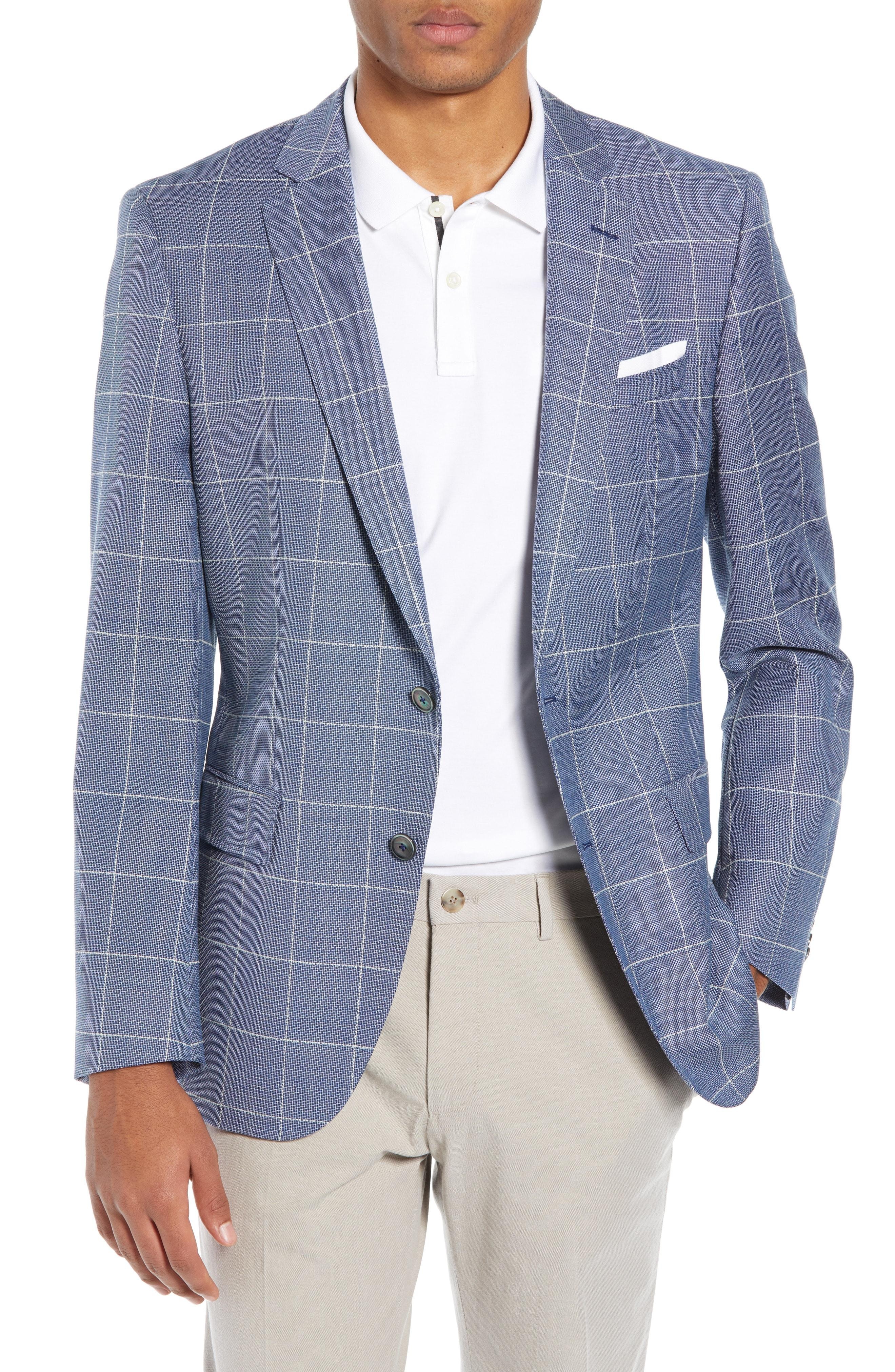 f0c7b09d6 Lyst - BOSS Hugo Hutsons Trim Fit Windowpane Wool Sport Coat in Blue ...