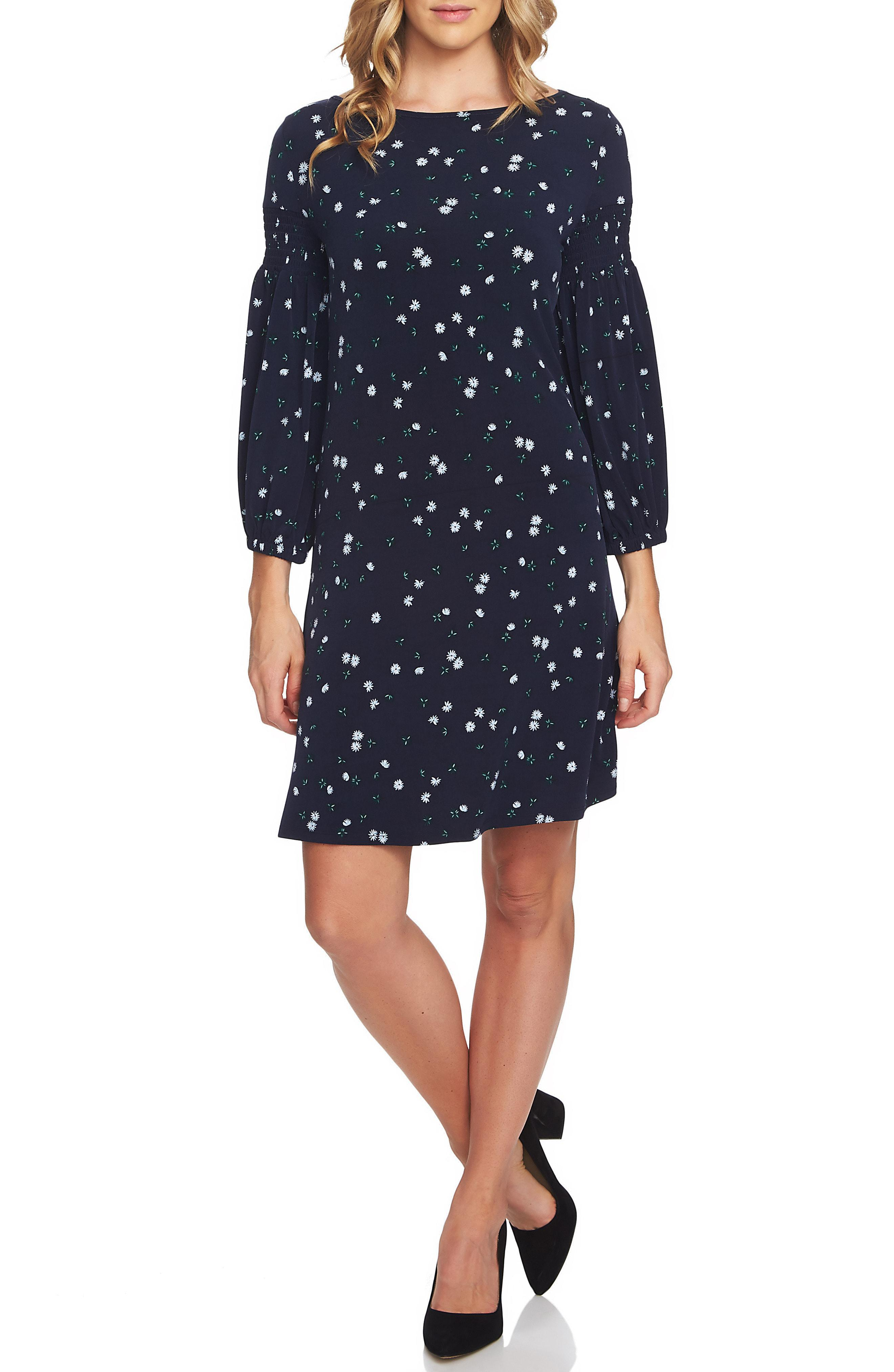 4b1e27d3c70 Lyst - Cece Tossed Ditsy Print Knit Shift Dress in Blue