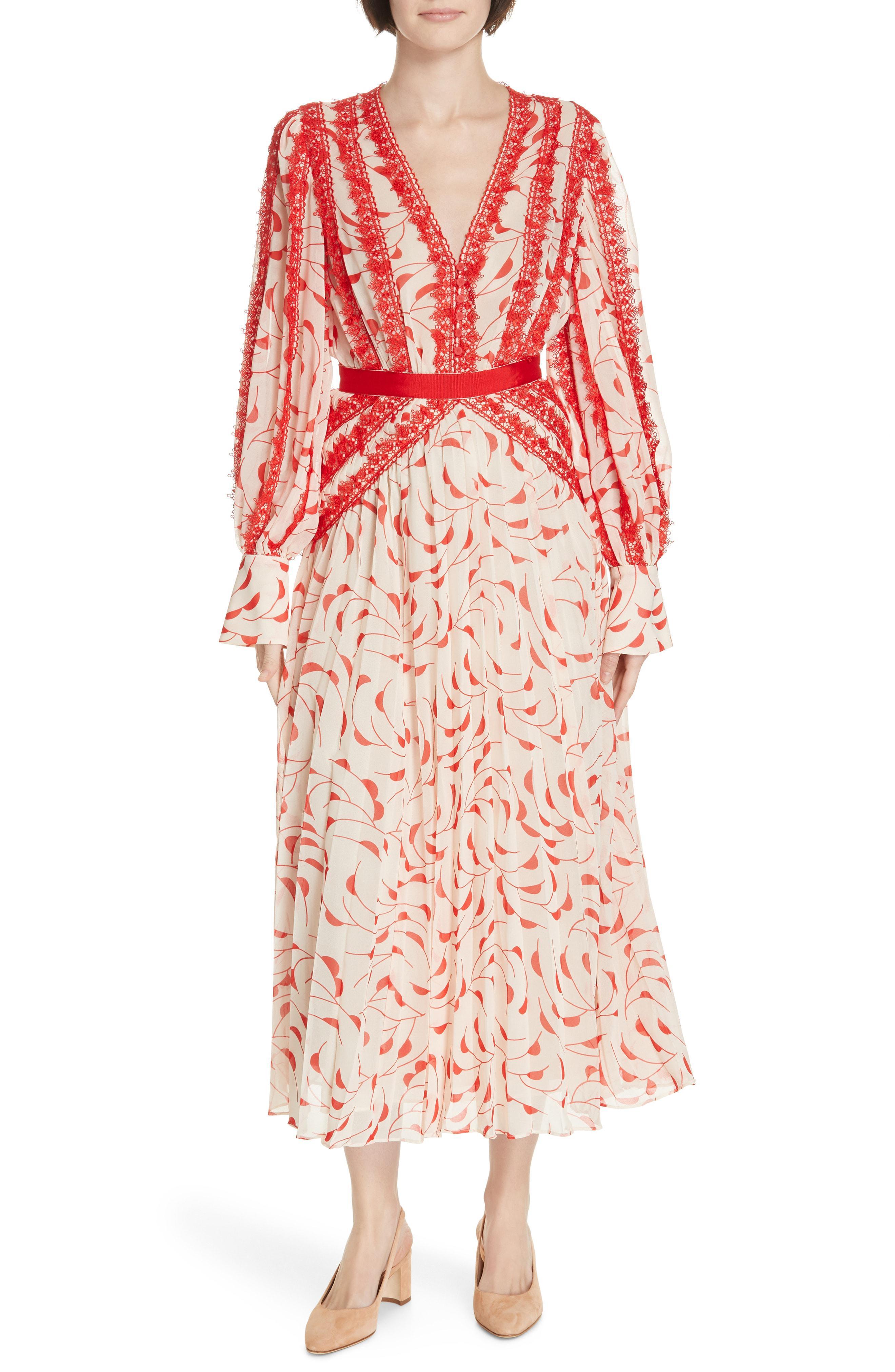 fa610a1a12999 Self-Portrait Crescent Printed Chiffon Midi Dress in Red - Save 18 ...
