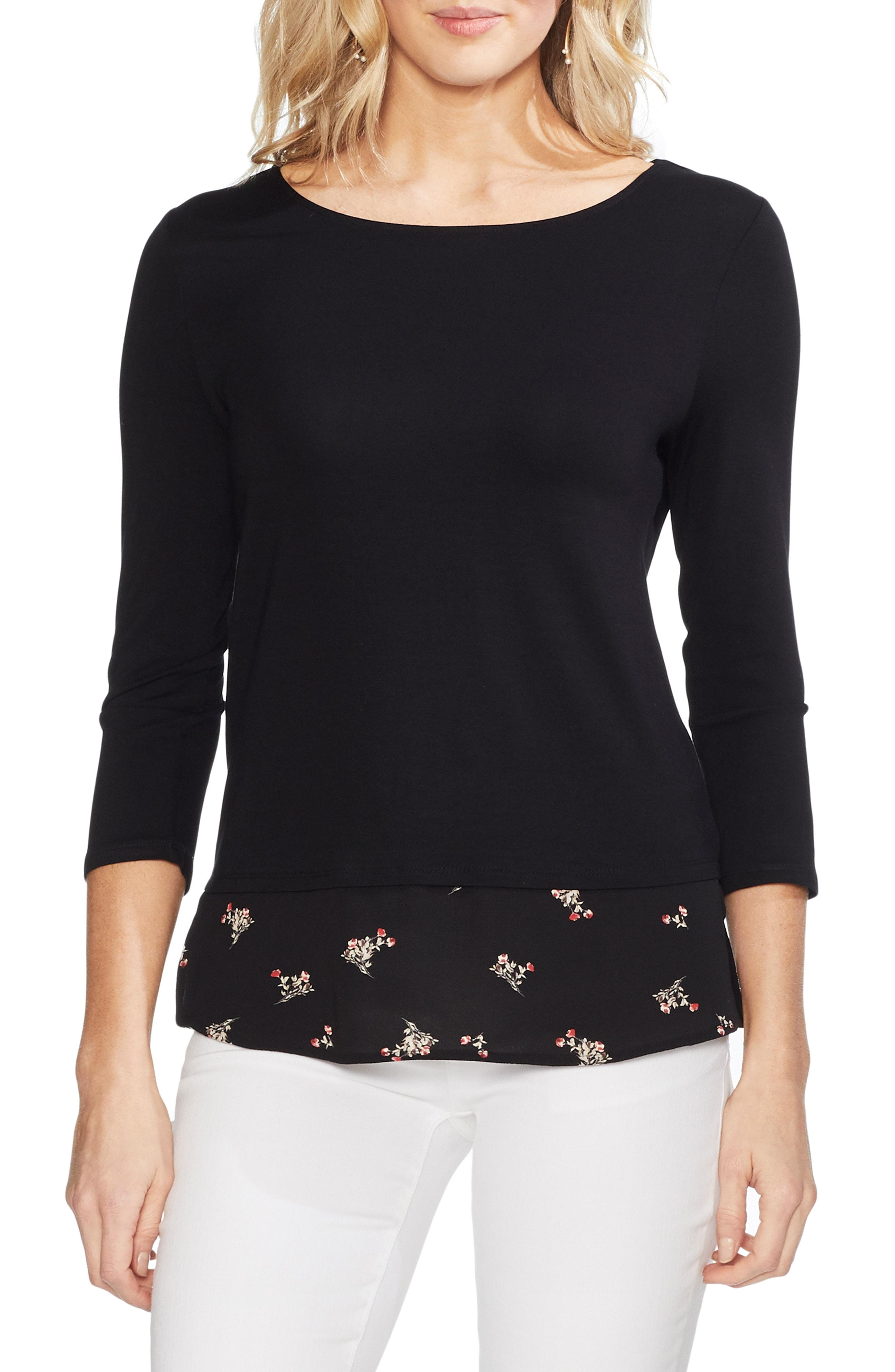 f40a34513005e Lyst - Vince Camuto Mix Media Desert Bouquet Top in Black