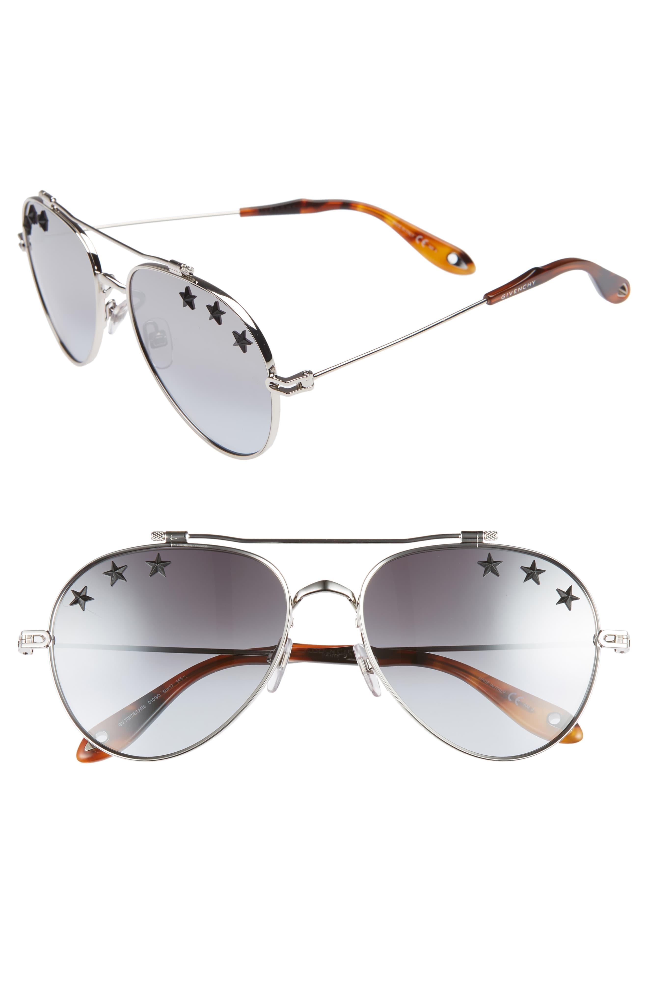 314024f9a08f9 Givenchy - Gray Star Detail 58mm Mirrored Aviator Sunglasses - Palladium   Grey Azure - Lyst. View fullscreen