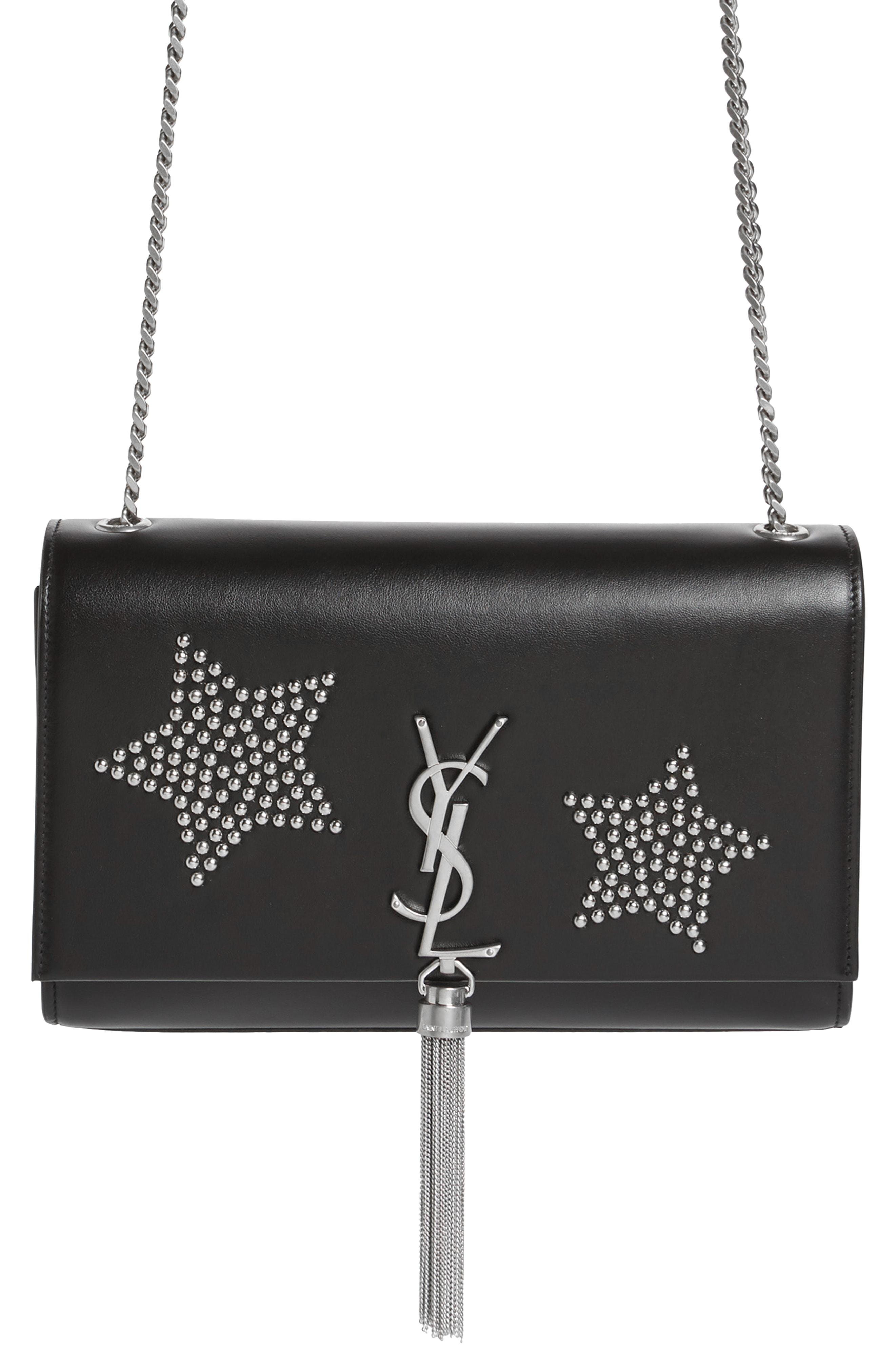 Lyst - Saint Laurent Medium Kate Tassel - Stars Leather Bag in Black dab820e2c8b72