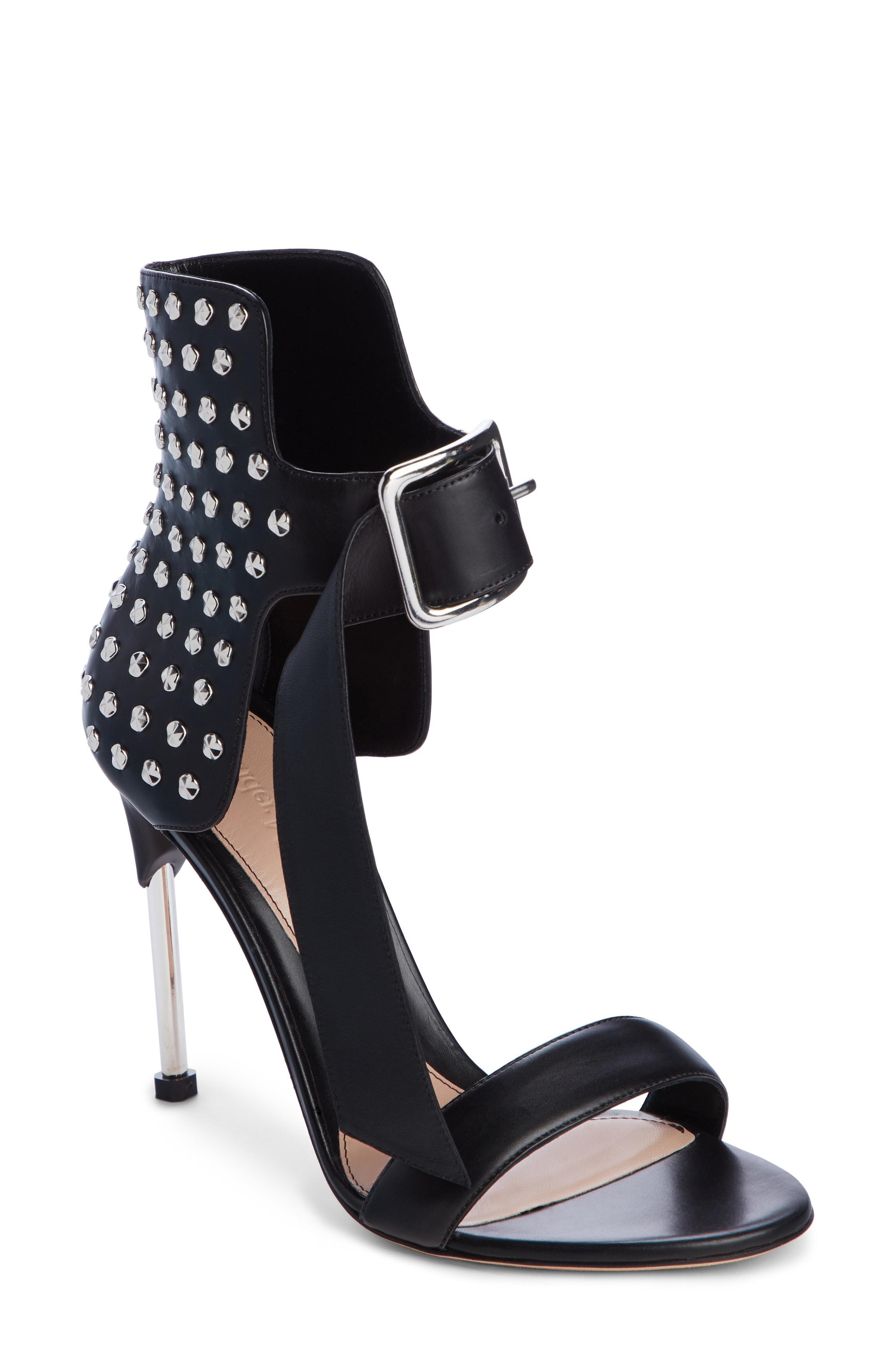 c4c697346553 Lyst - Alexander McQueen Studded Ankle Strap Sandal in Black