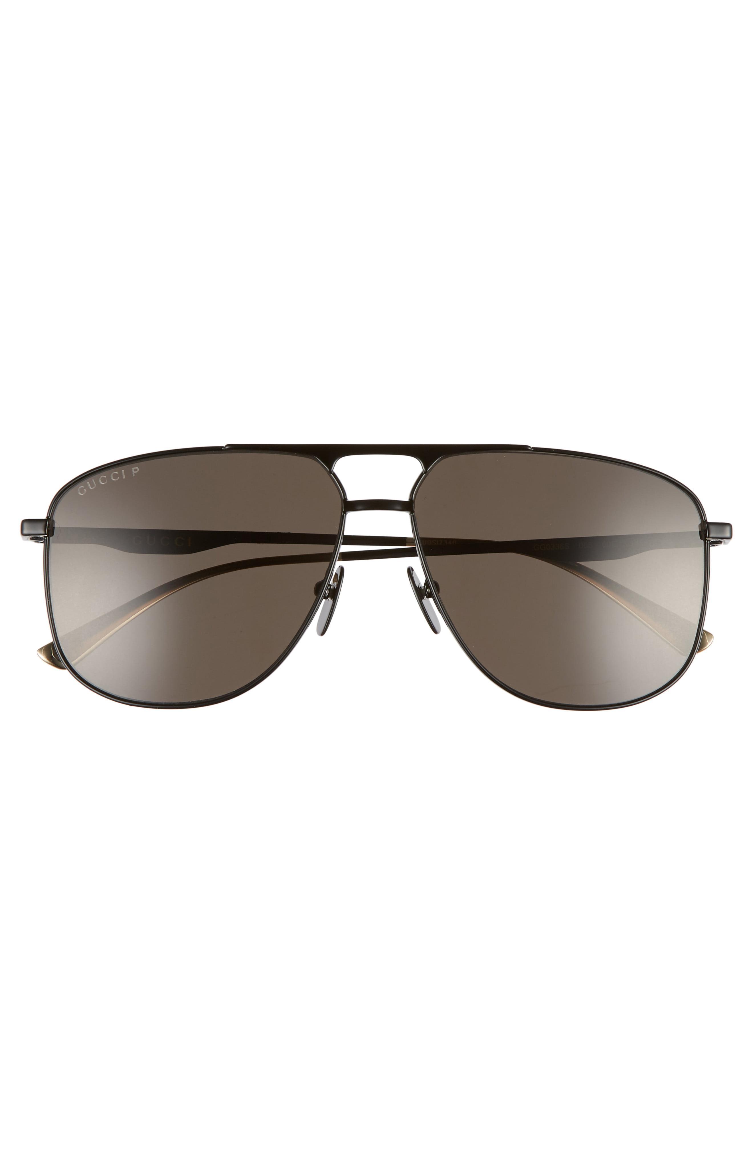 1aff8f0ce86 Gucci - Black 80s Monocolor 60mm Polarized Aviator Sunglasses for Men -  Lyst. View fullscreen