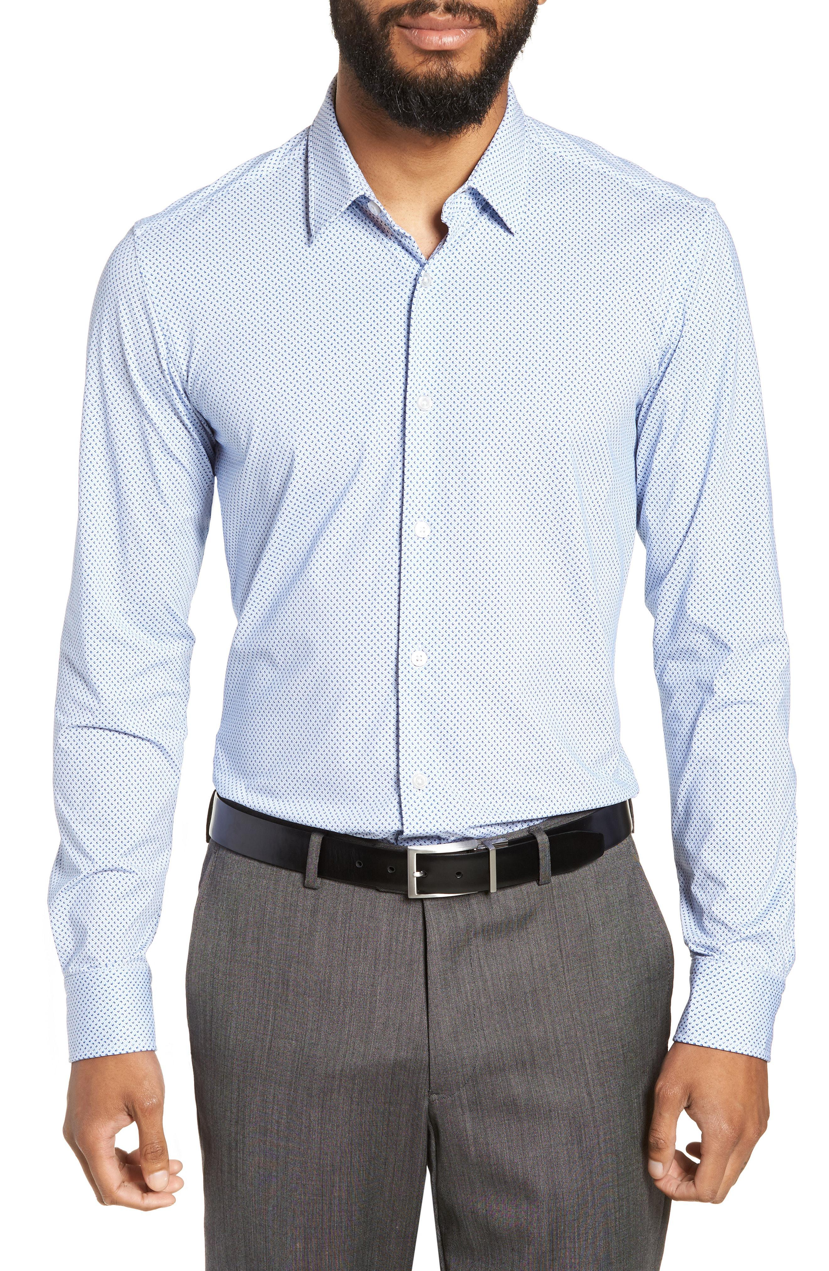25f72b82 BOSS Ronni Slim Fit Performance Sport Shirt in Blue for Men - Lyst