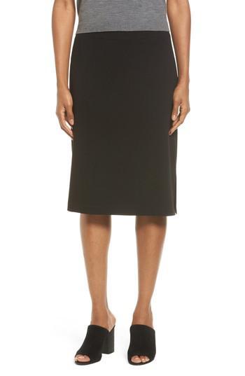 587244f011 Eileen Fisher Side Slit Jersey Skirt in Black - Lyst