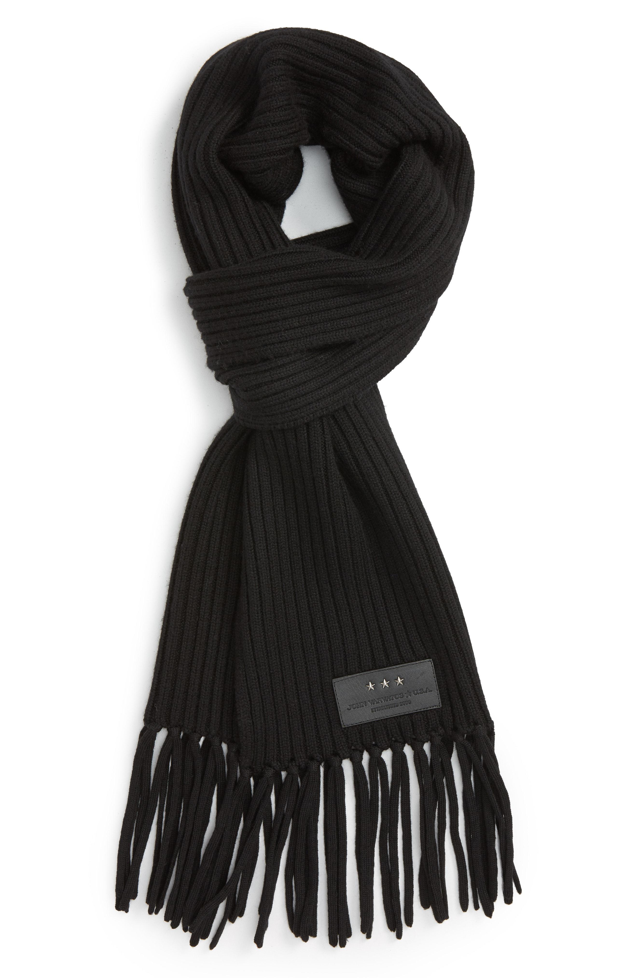 bf2e1c186e099 Lyst - John Varvatos Wool Scarf in Black for Men