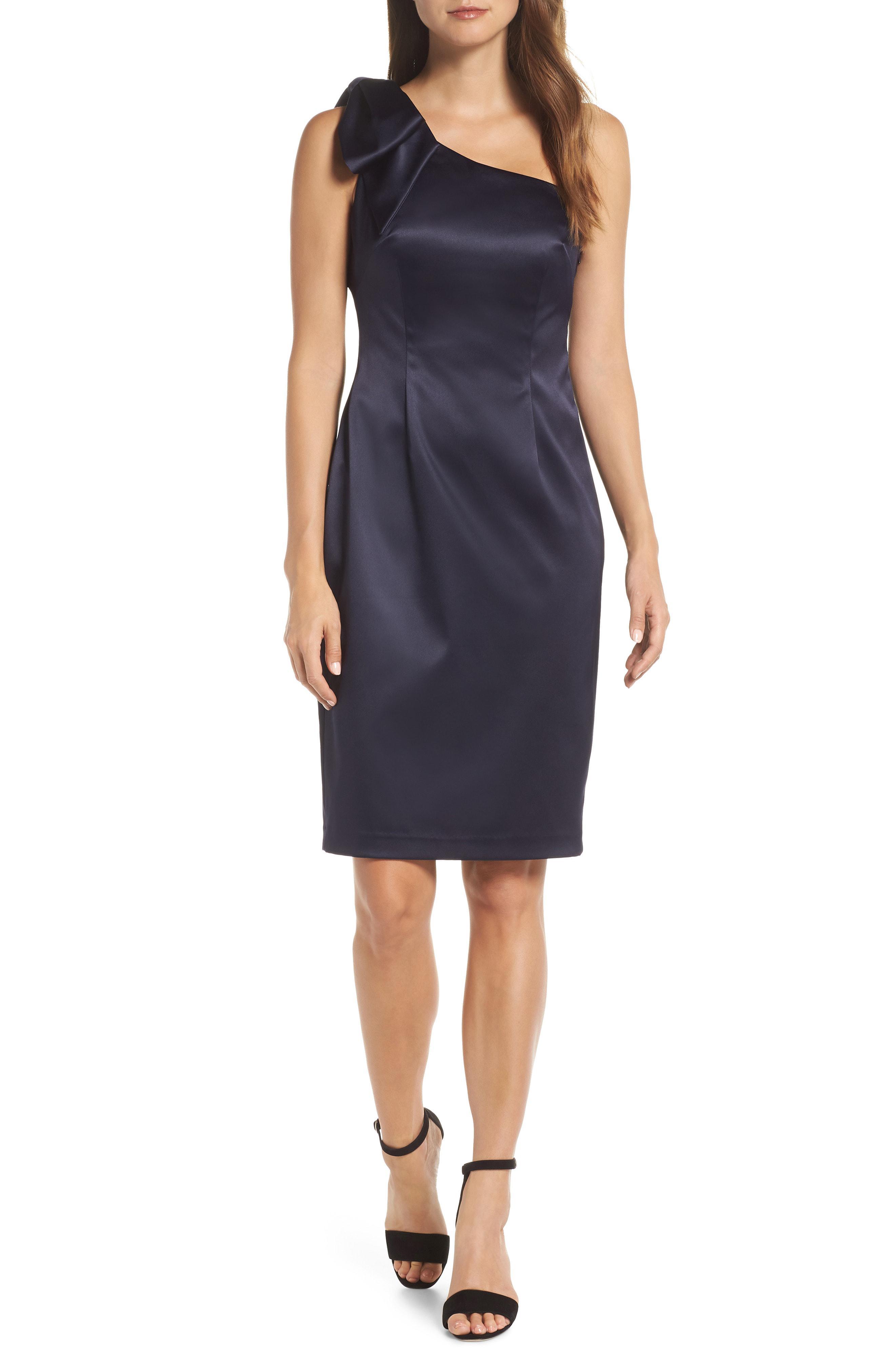 3ee5d555a7eb Lyst - Eliza J One-shoulder Bow Detail Satin Sheath Dress in Blue ...
