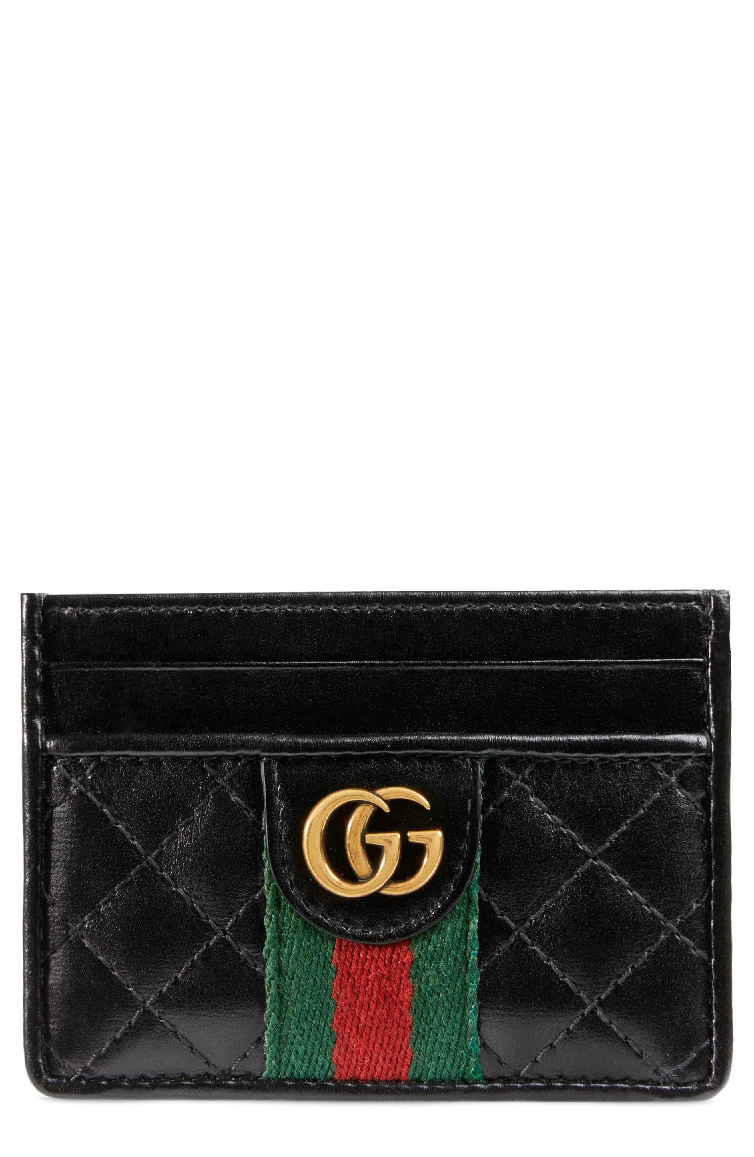 6d36622570 Lyst - Gucci Leather Card Case With Double G in Black