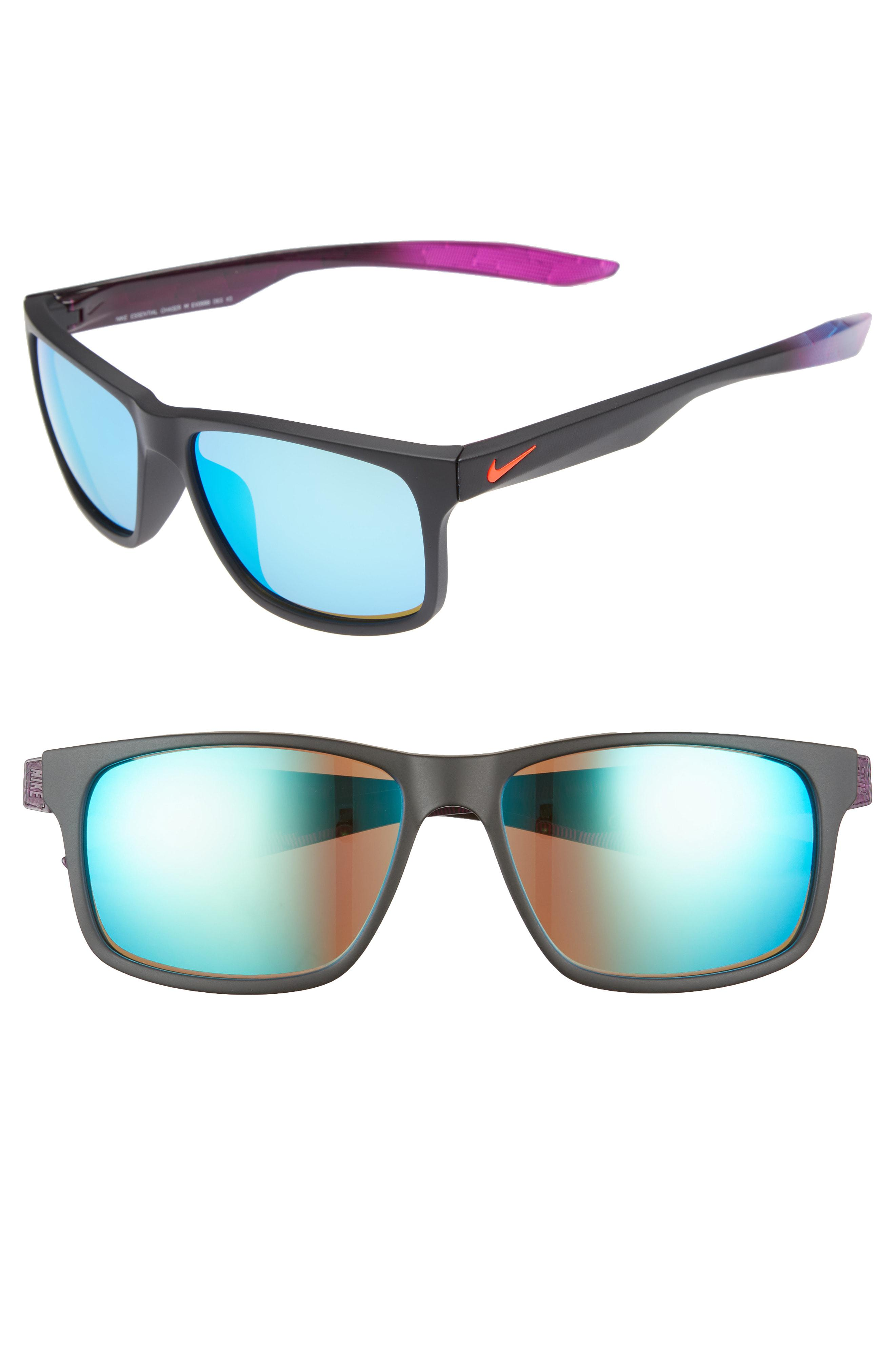 2d8a53b4578 Lyst - Nike Essential Chaser 57mm Reflective Sunglasses - in Blue ...