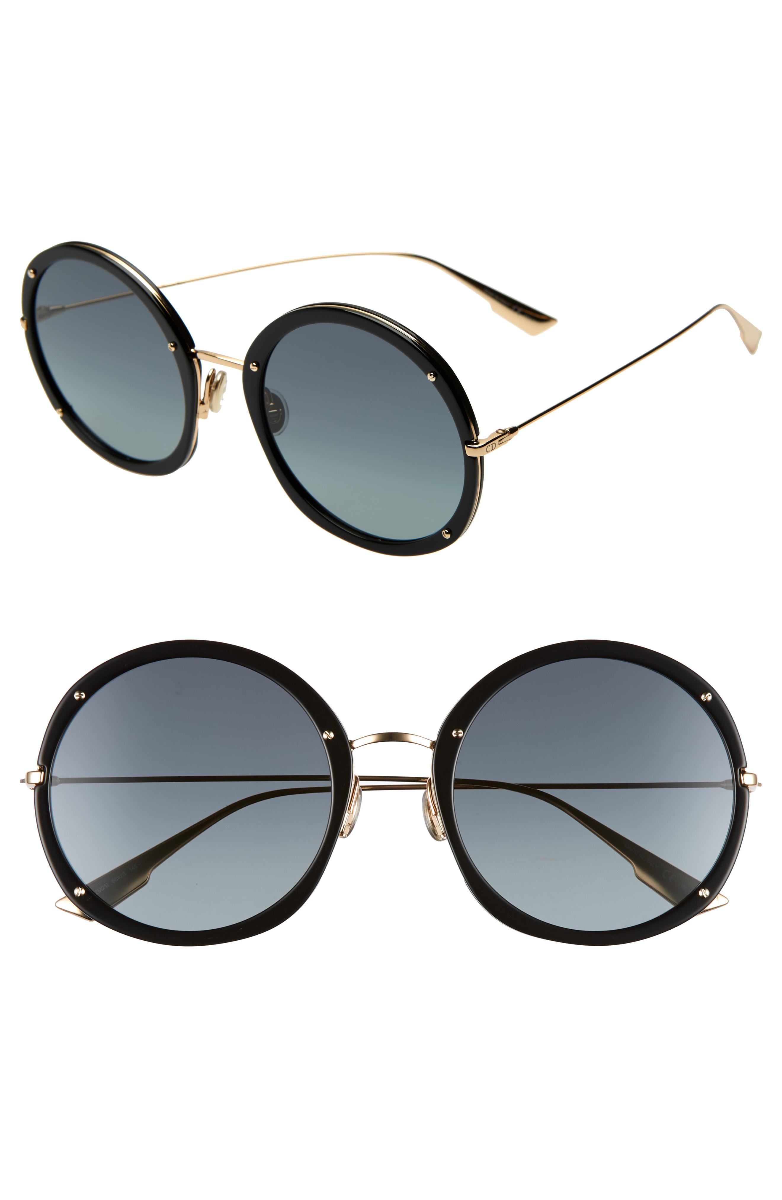 30df05869e3 Lyst - Dior Hypnotic 56mm Round Sunglasses in Black