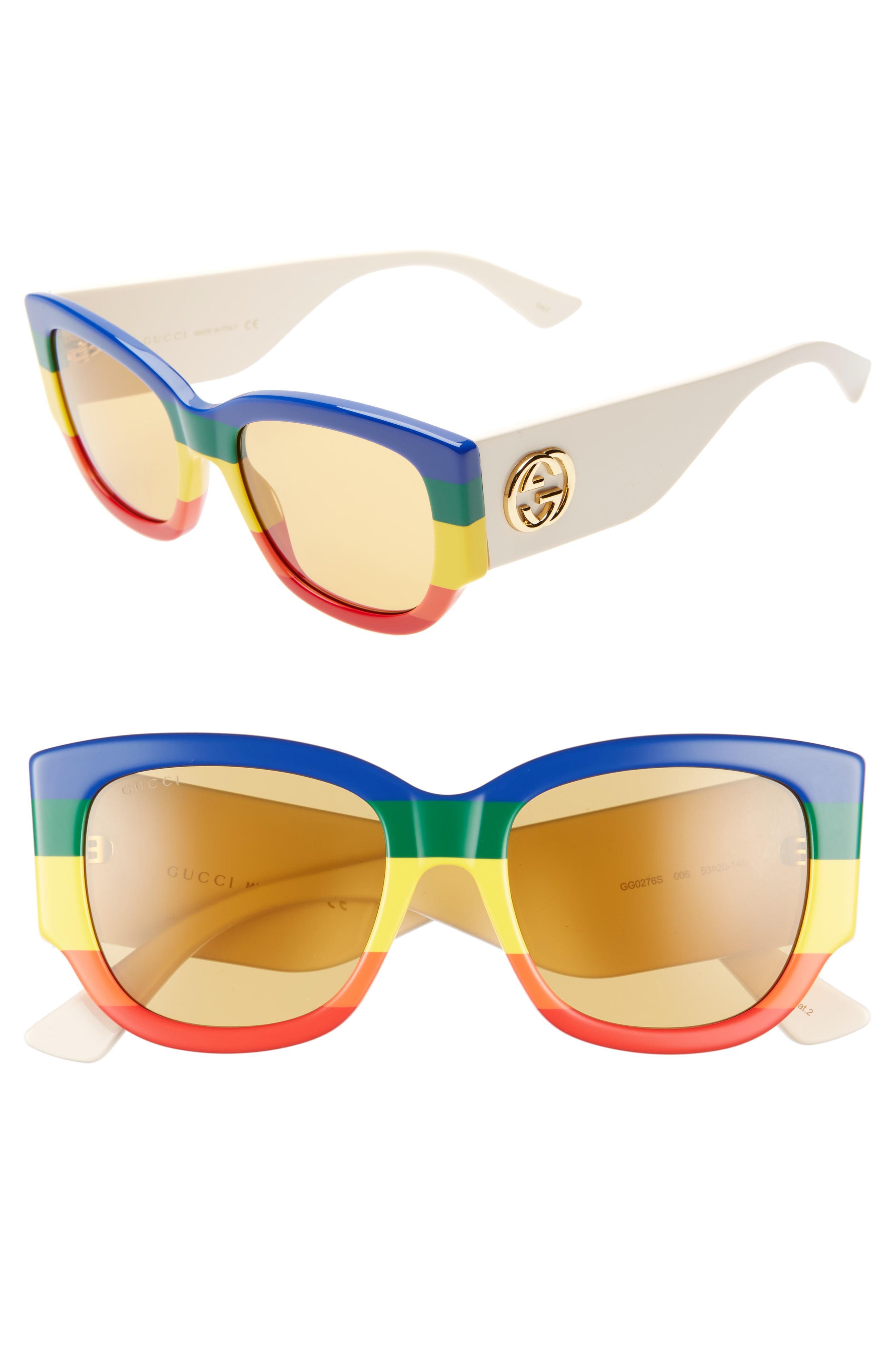 088720b79 Gucci - 53mm Striped Cat Eye Sunglasses - Multicolor - Lyst. View fullscreen